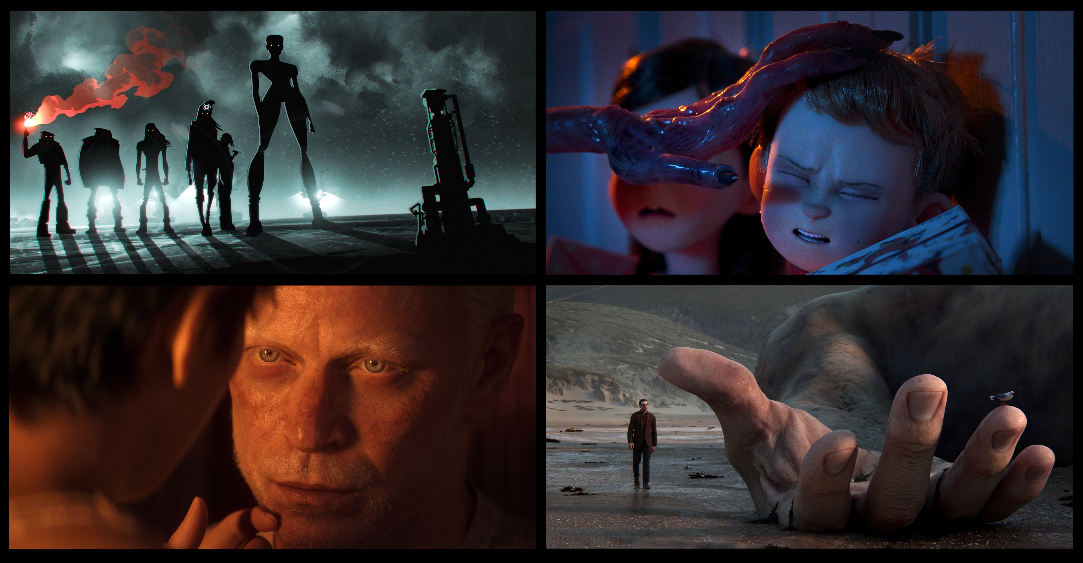four screenshots of love death and robots