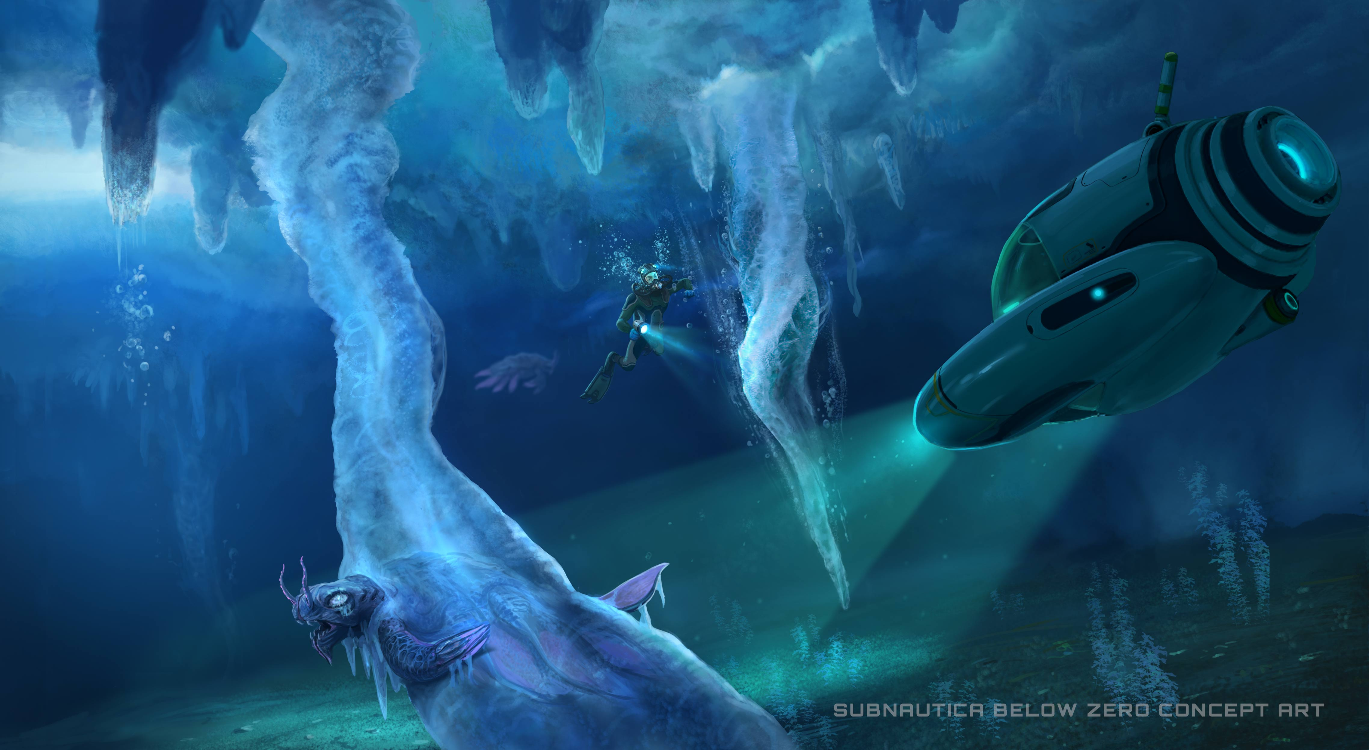 Subnautica: Below Zero - A submarine below a glacier, illuminating a large, turtle-like creature trapped in the ice of an alien world.