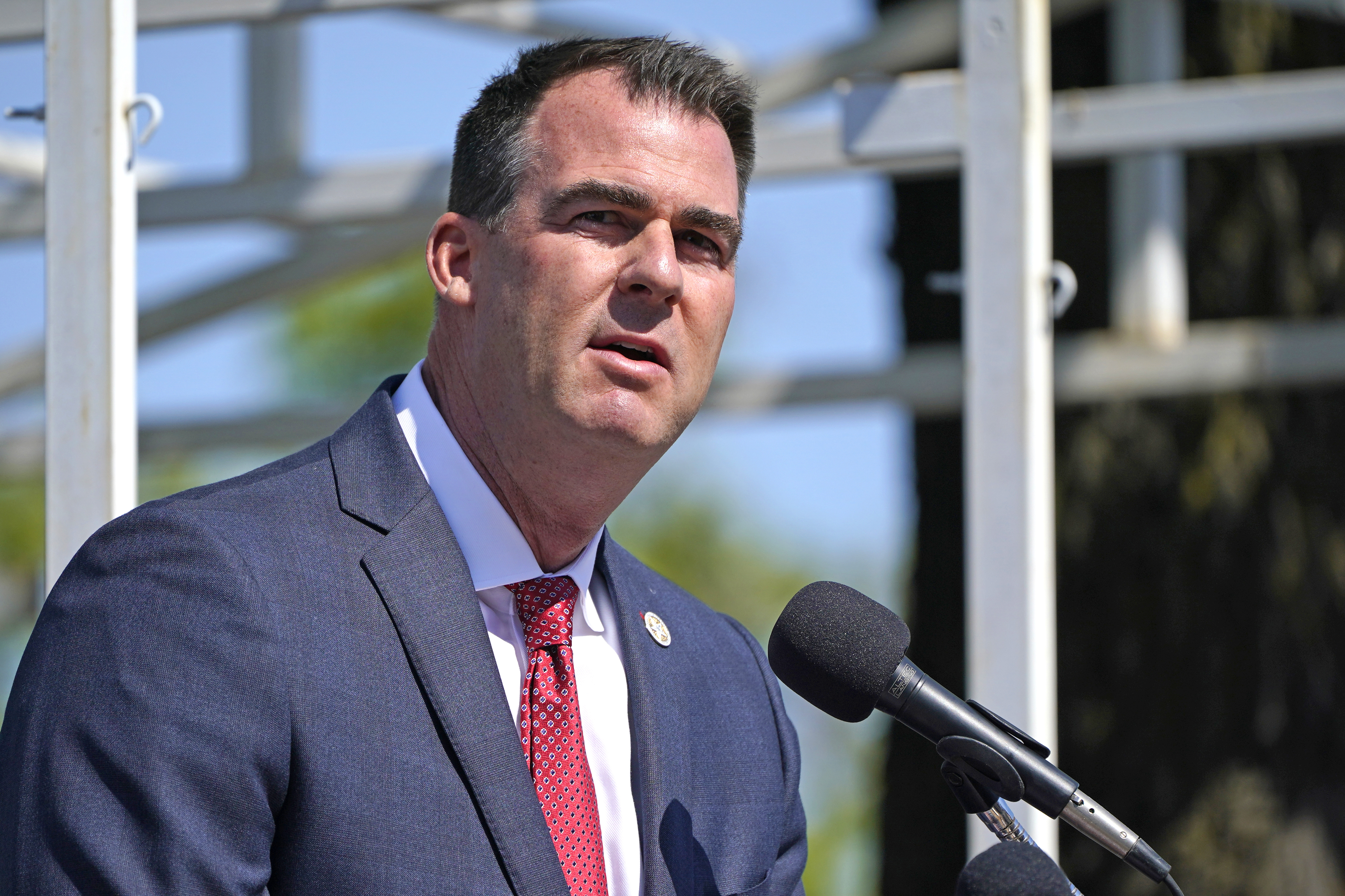 In this May 7, 2021, file photo, Oklahoma Gov. Kevin Stitt speaks during an Oklahoma Law Enforcement Memorial Ceremony in Oklahoma City.