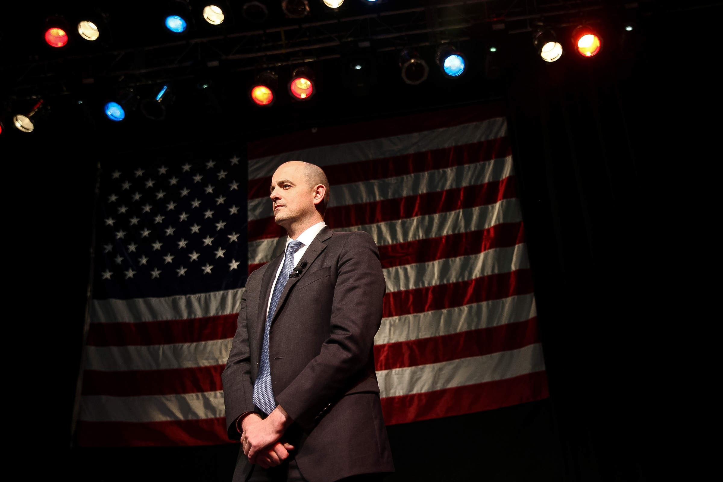 Conservative politician Evan McMullin delivers a speech in Salt Lake City.