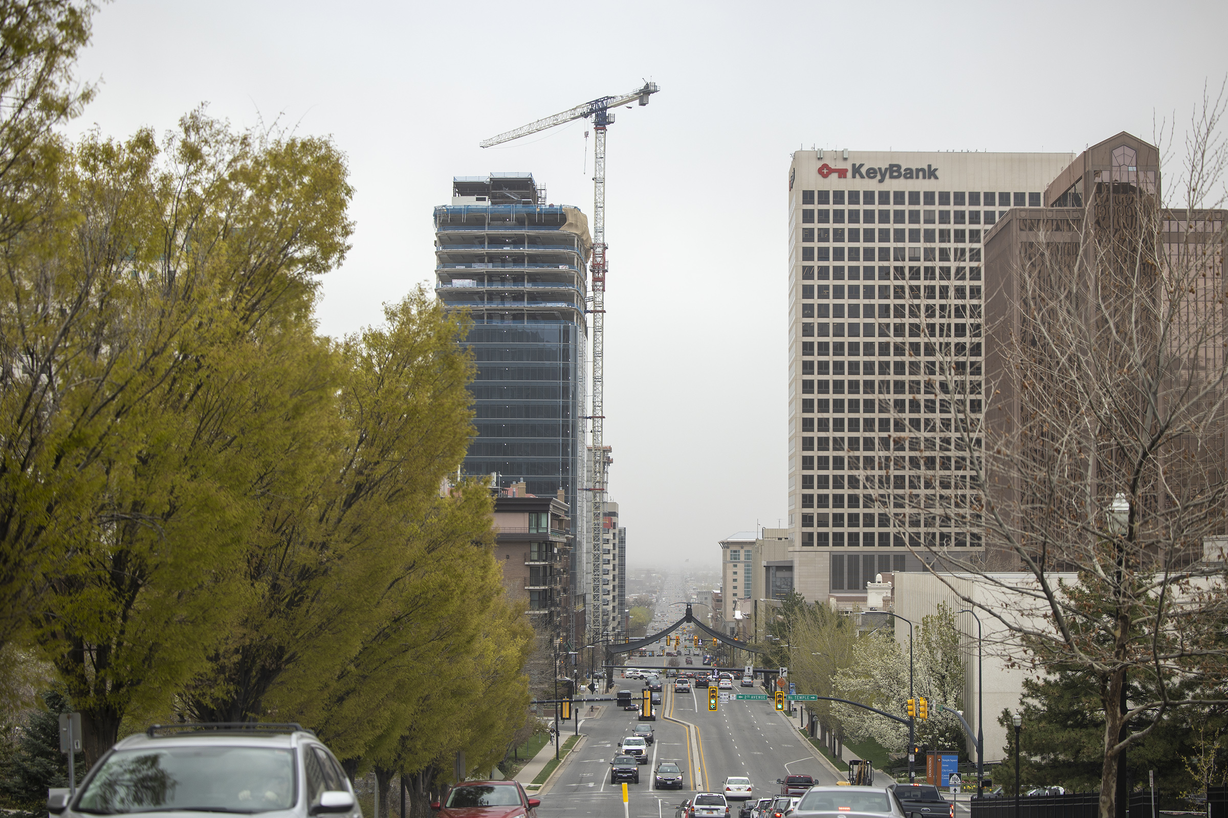 High winds kick up dust along the Wasatch Front in Salt Lake City on Monday, April 19, 2021.