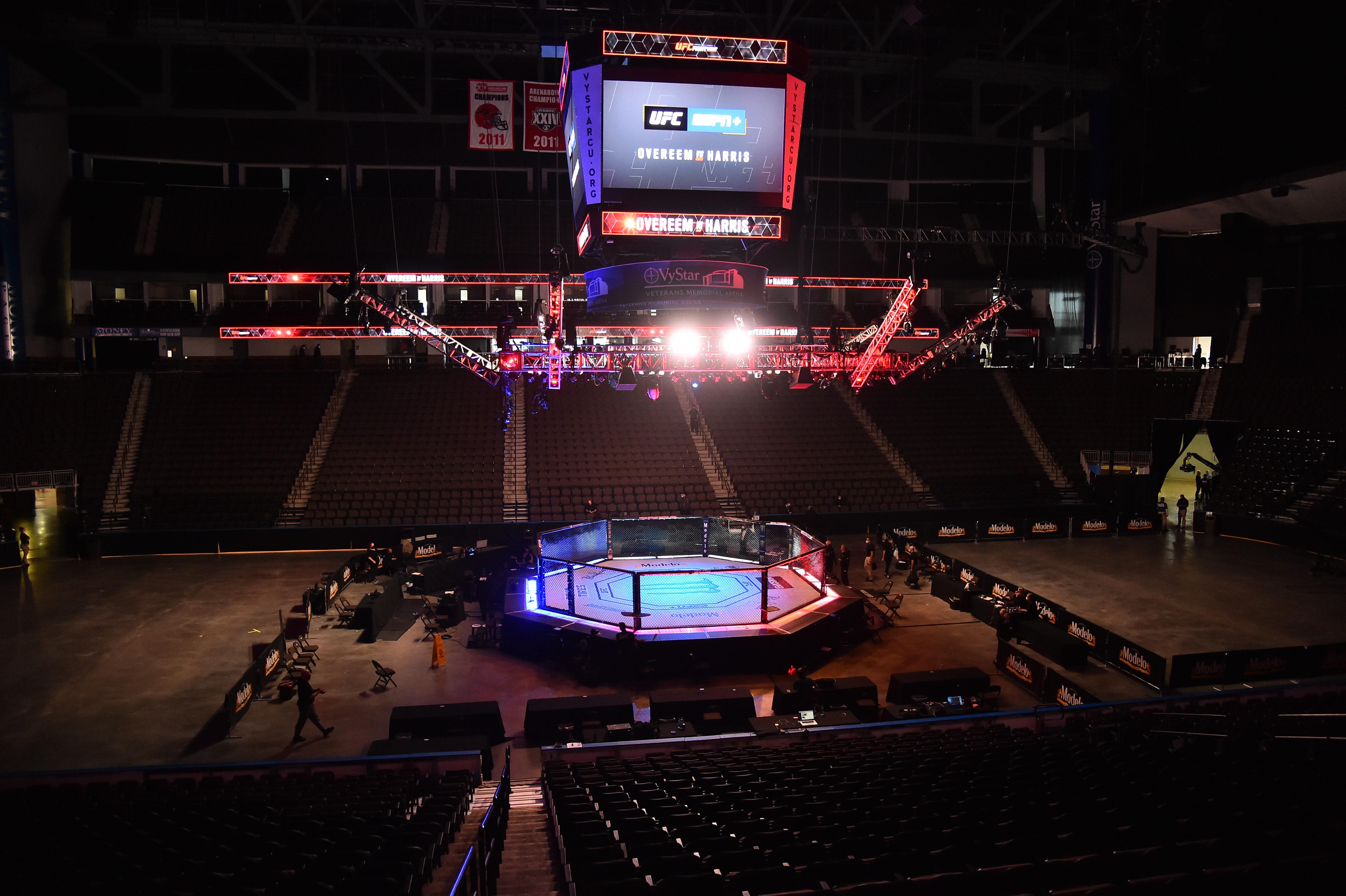 全景式八角形UFC前在ESPN在VyStar退伍军人纪念竞技场。