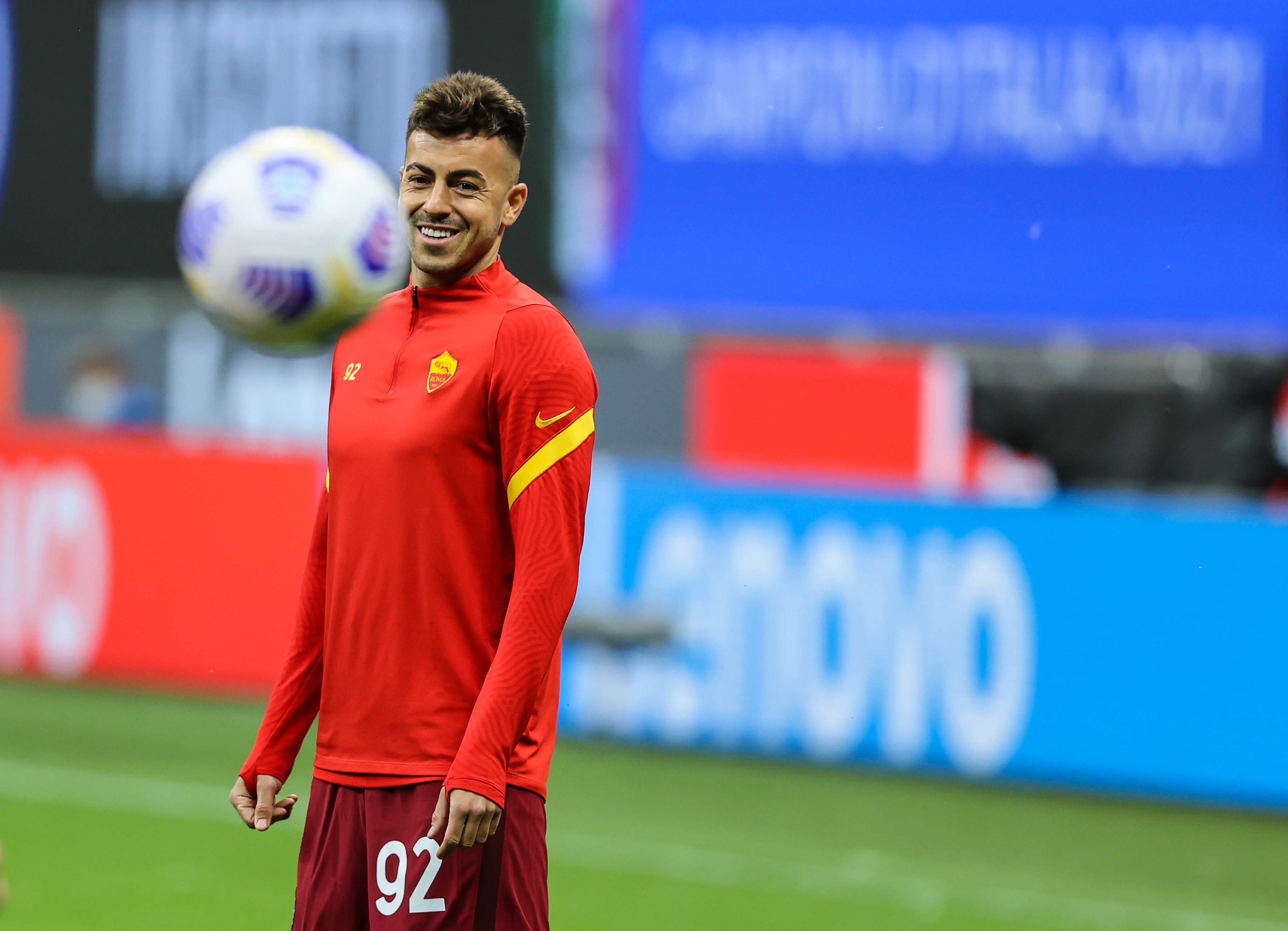 Stephan El Shaarawy of AS Roma warms up during the Serie A...