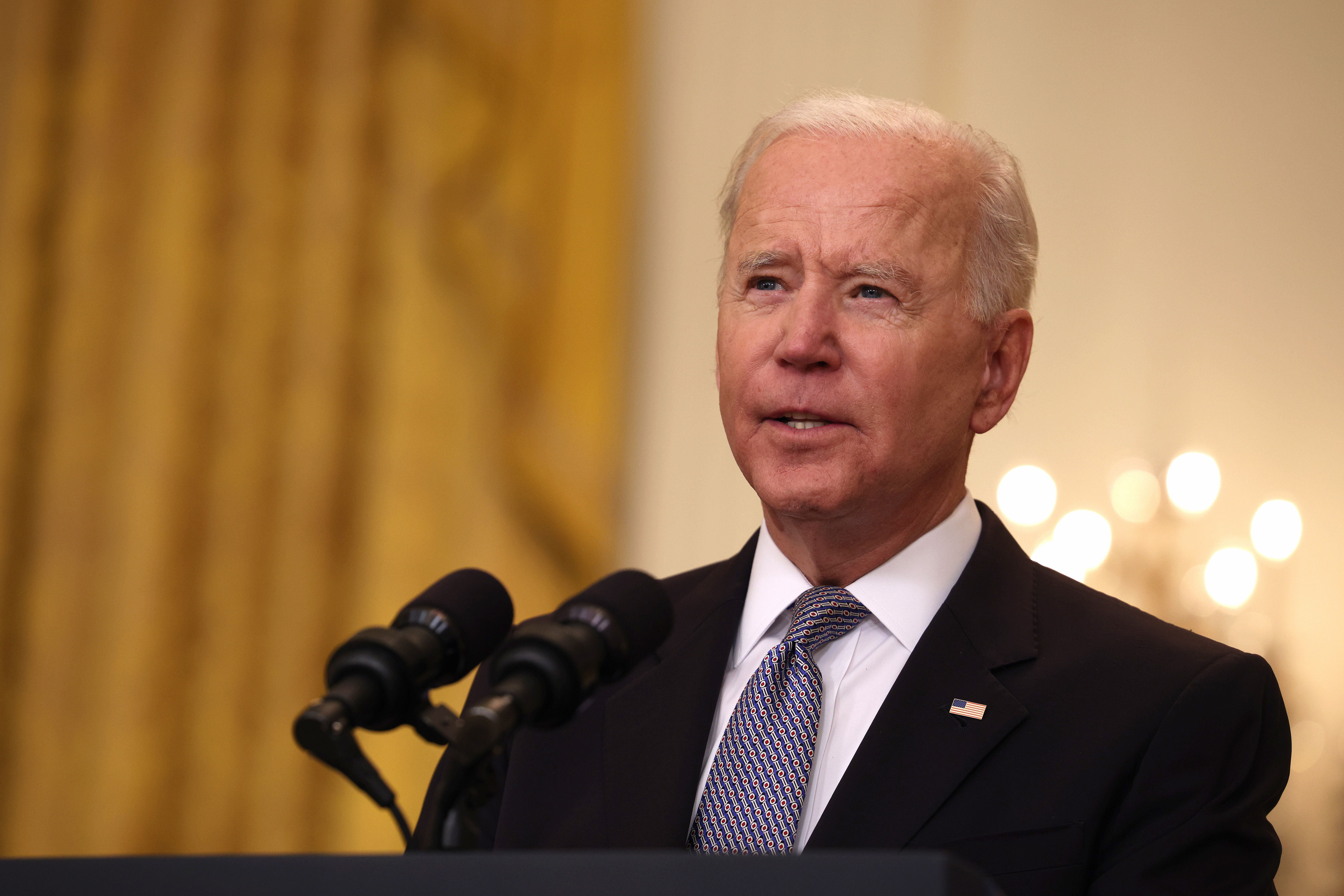 U.S. President Joe Biden gives an update on his administration's COVID-19 response and vaccination program in the East Room of the White House on May 17, 2021 in Washington, DC.