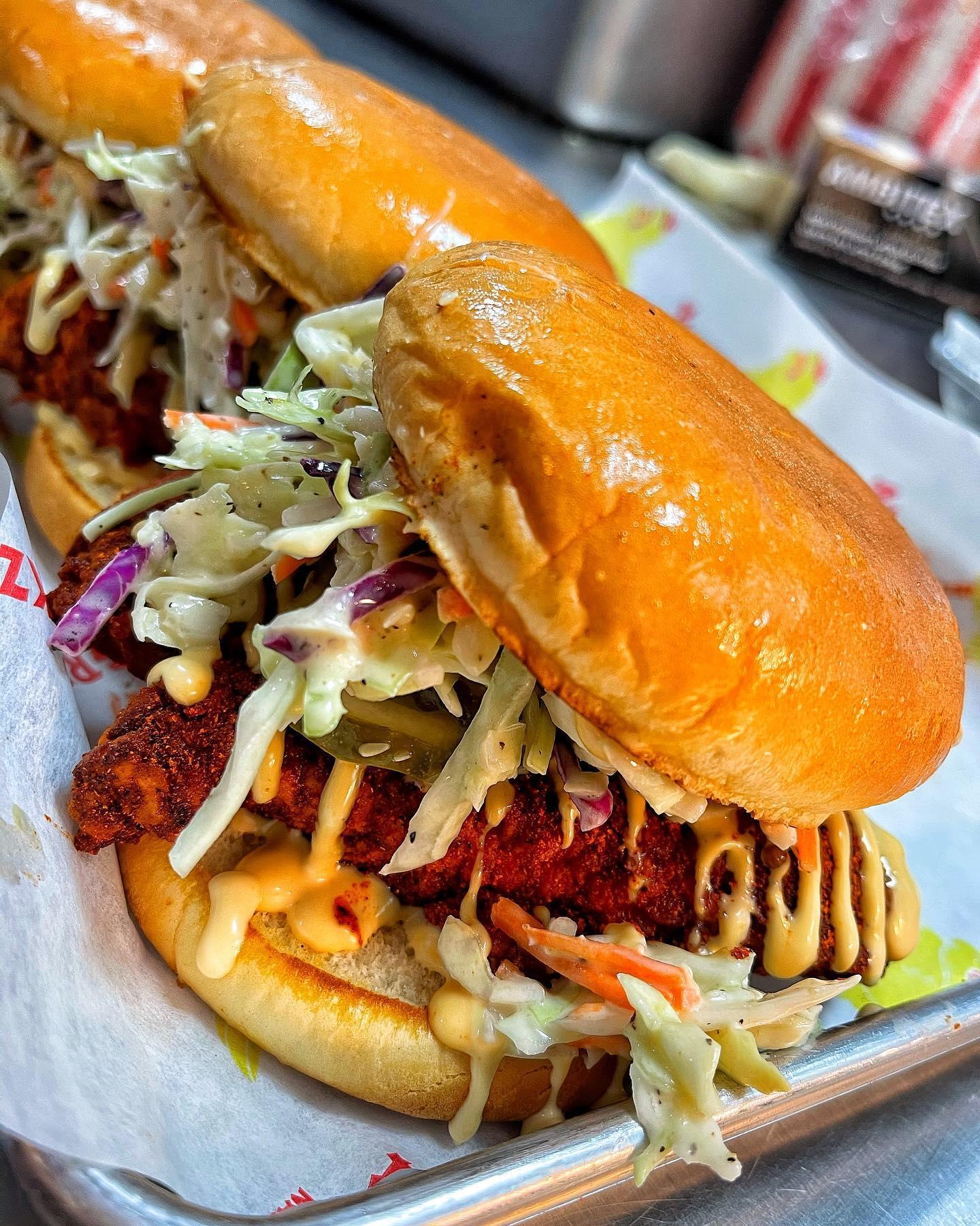 Two Nashville hot chicken sandwiches