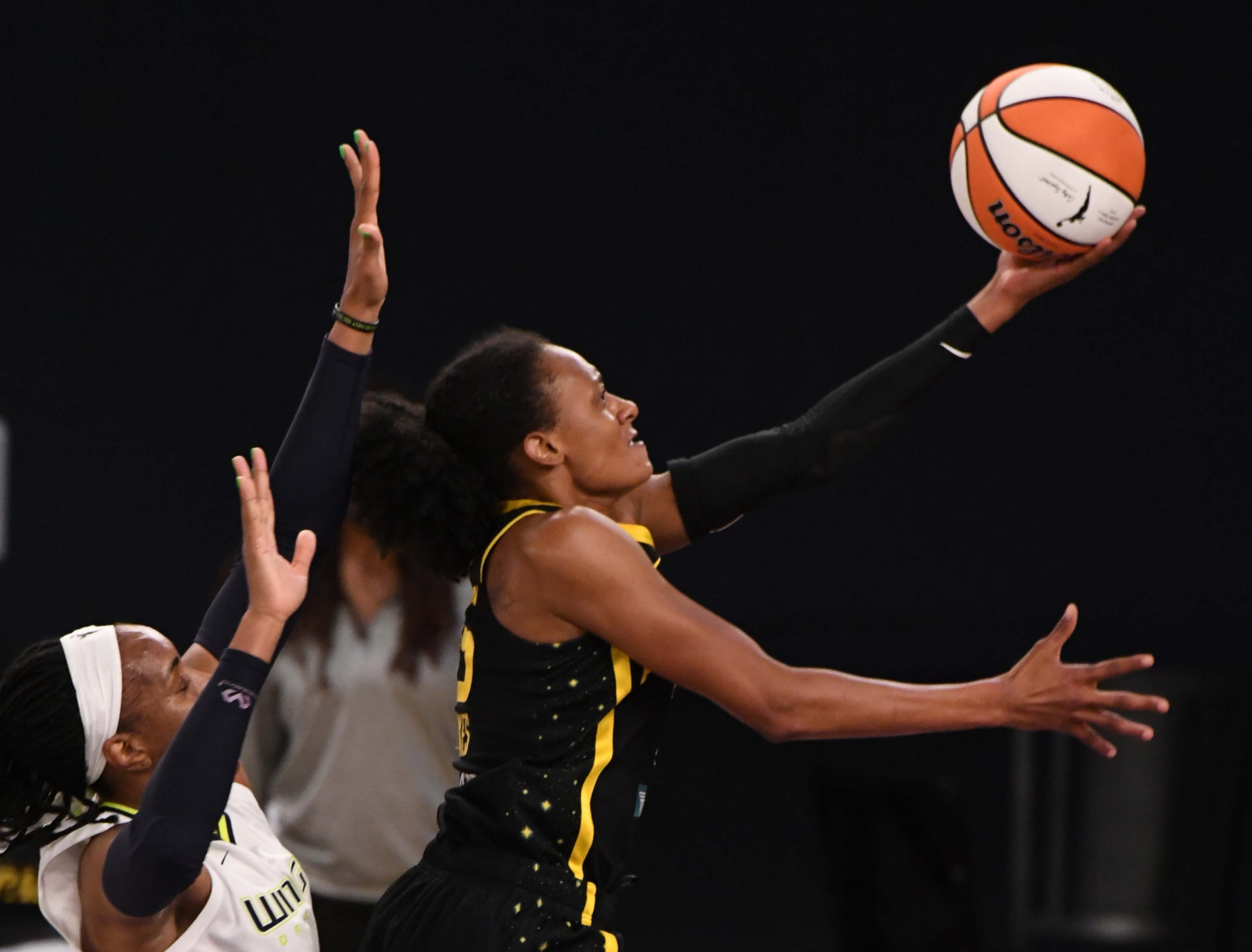 Dallas Wings defeats the Los Angeles Sparks 94-71 during a WNBA basketball game at the Convention Center in Los Angeles.