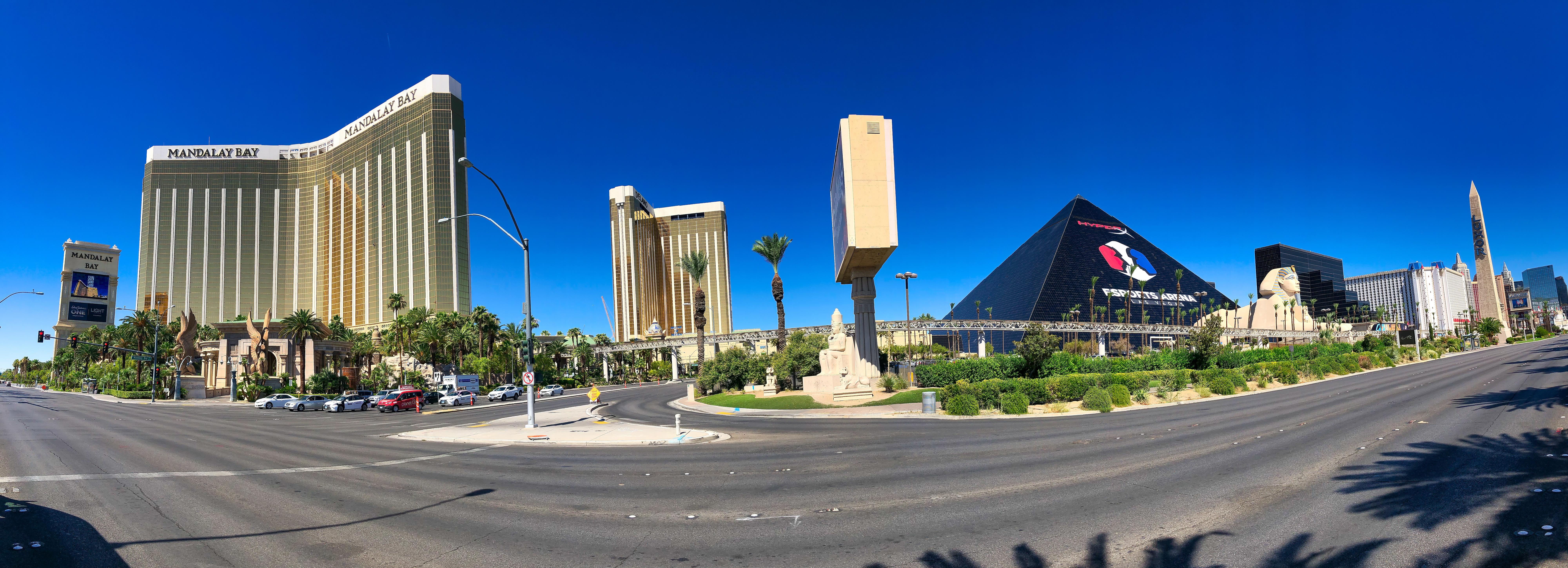 Three towers of casinos on the Las Vegas Strip