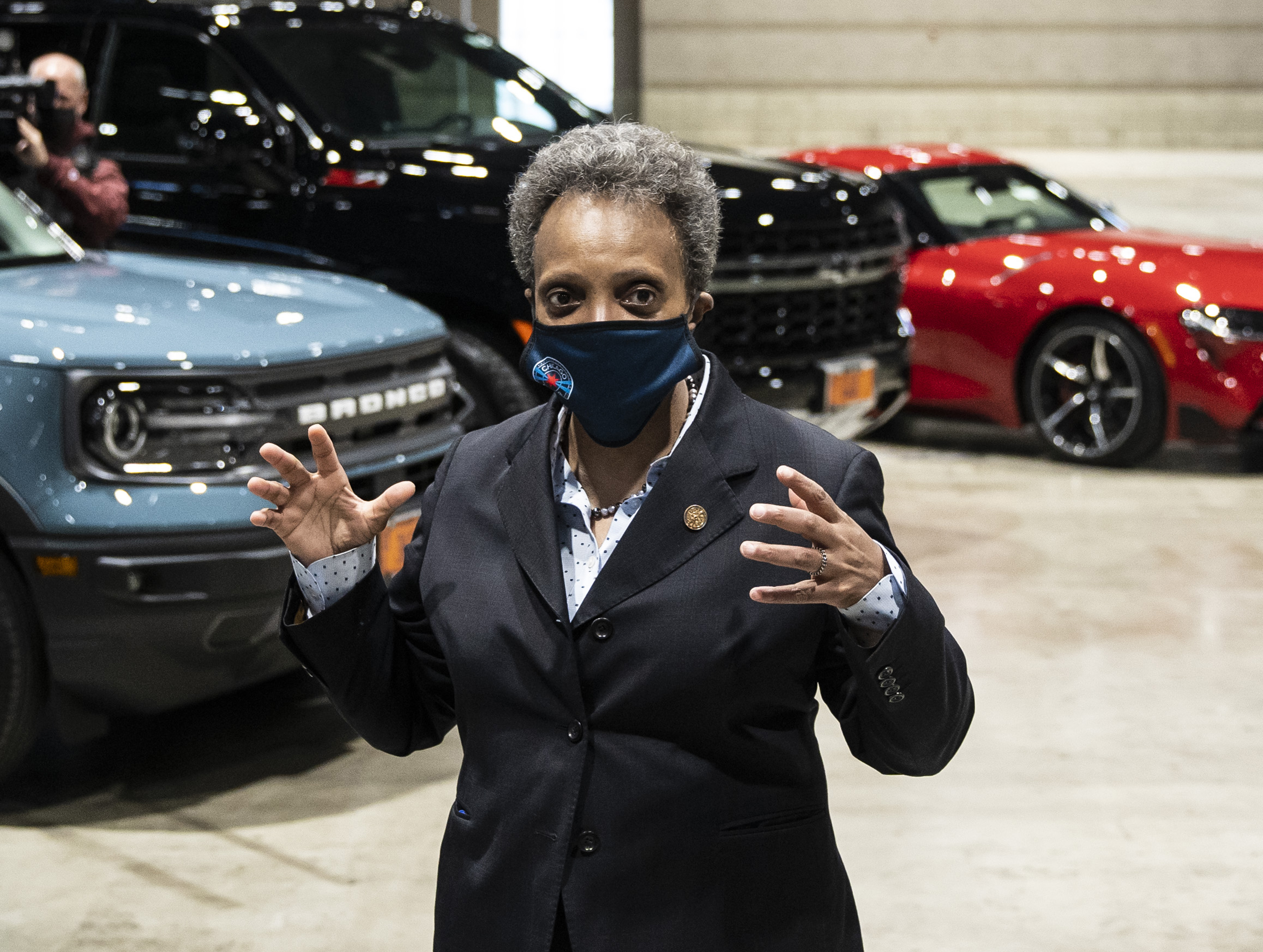 Mayor Lori Lightfoot, shown earlier this month at an announcement that the Chicago Auto Show will return this year,