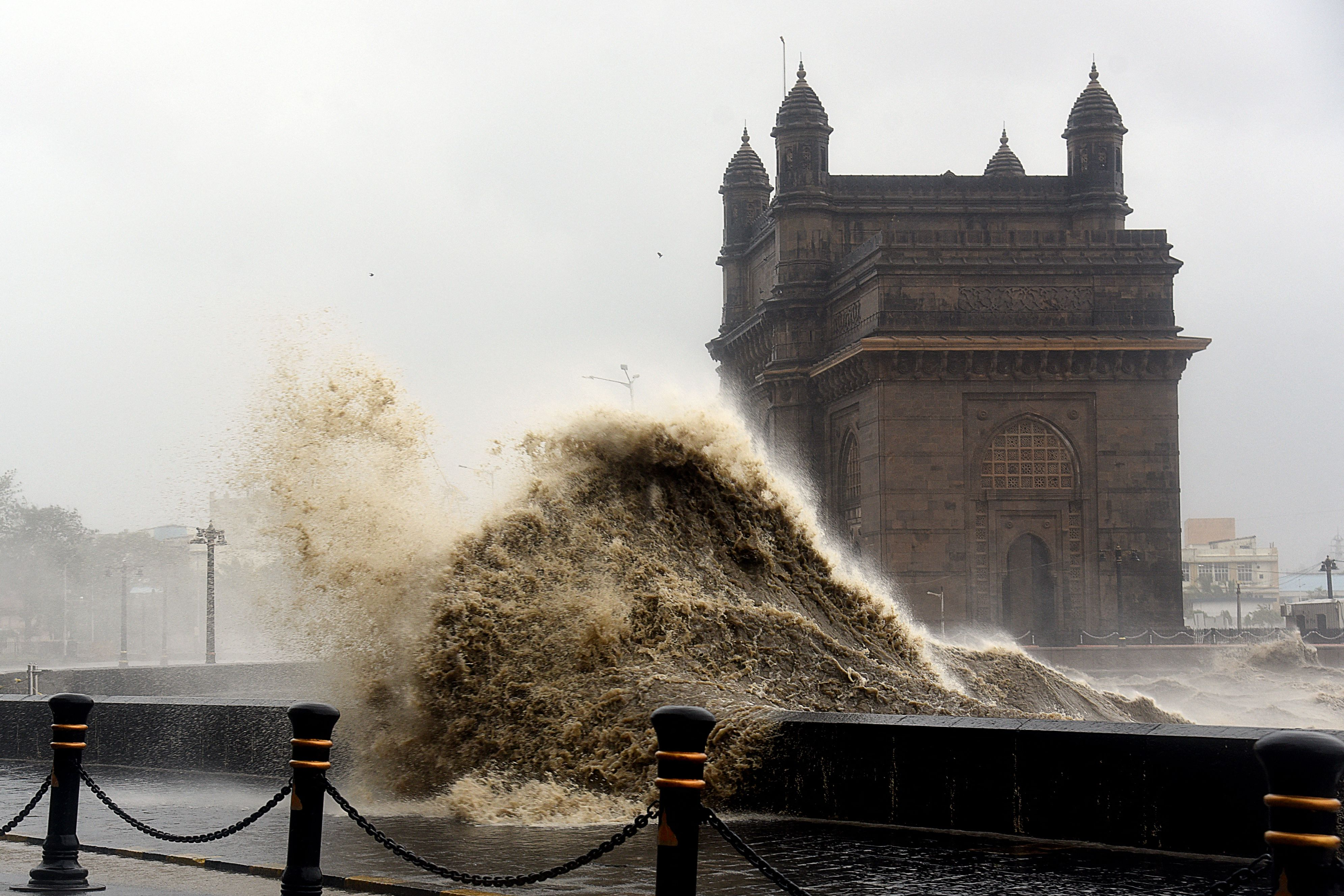 Waves lashes over following cyclone Tauktae at the Gateway of India in Mumbai on May 17, 2021.