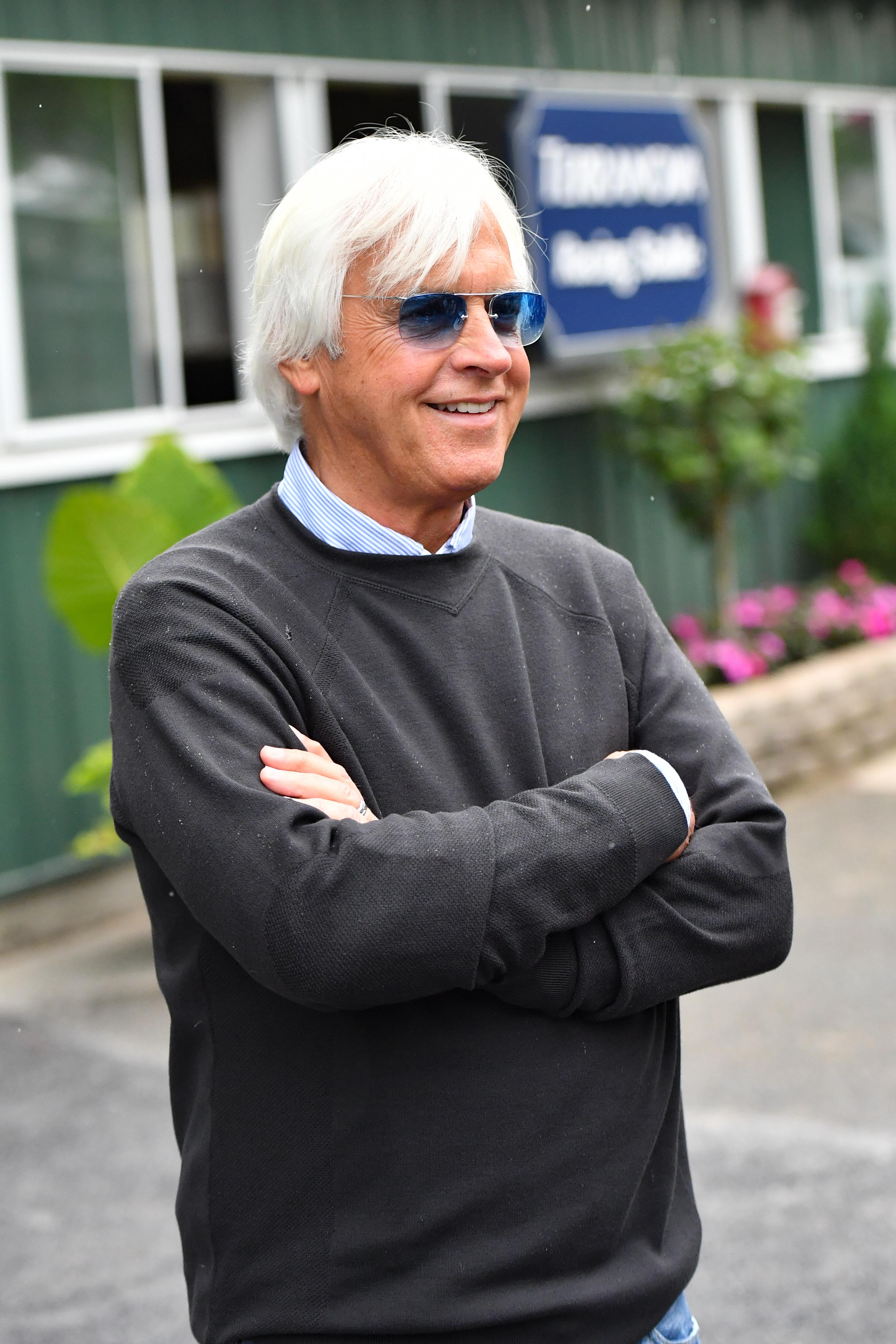 教练员鲍勃·围裙在贝尔蒙特公园赛马场在2018年6月10日在Elmont,纽约