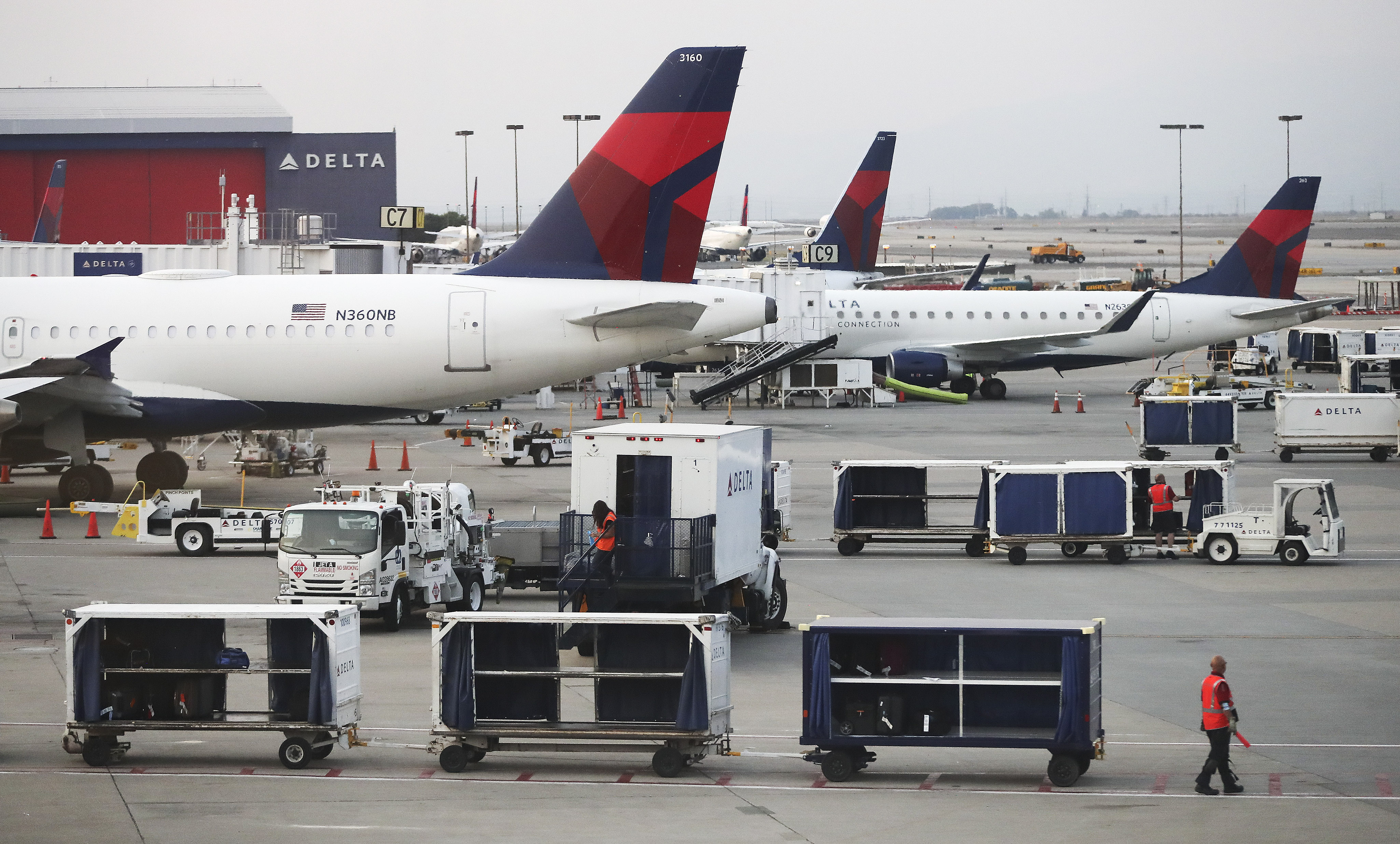 Airplanes are at the ready at Salt Lake City International Airport.