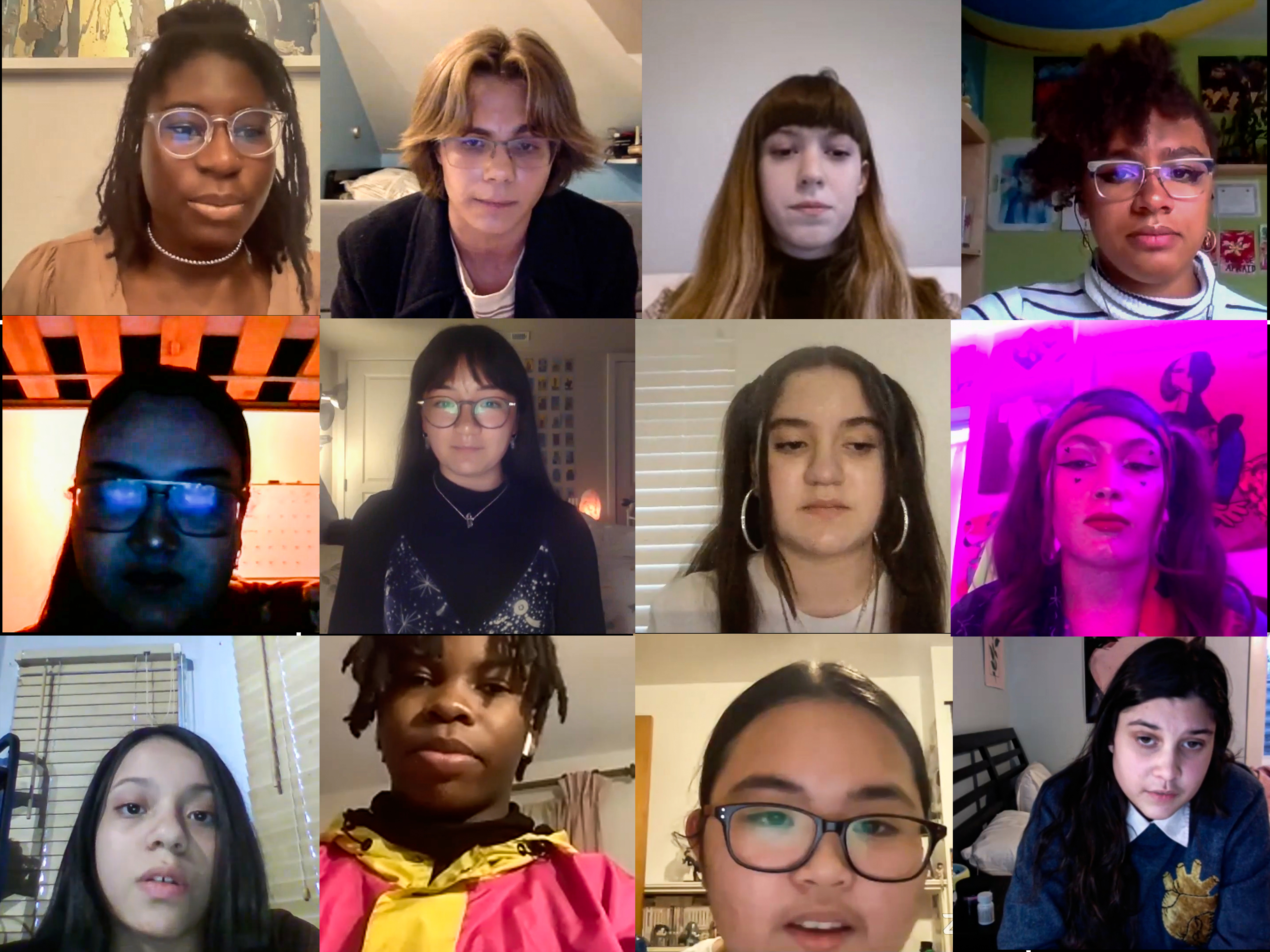 A collage of 12 screenshots from a Zoom meeting that show teenagers' faces.