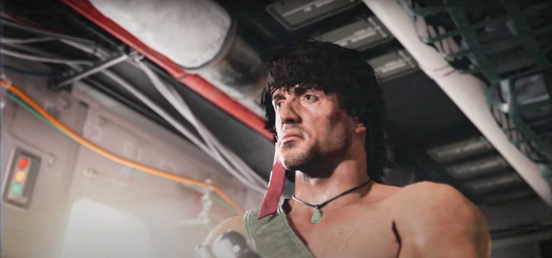 Rambo from Call of Duty: Warzone stands in a helicopter and holds an SMG