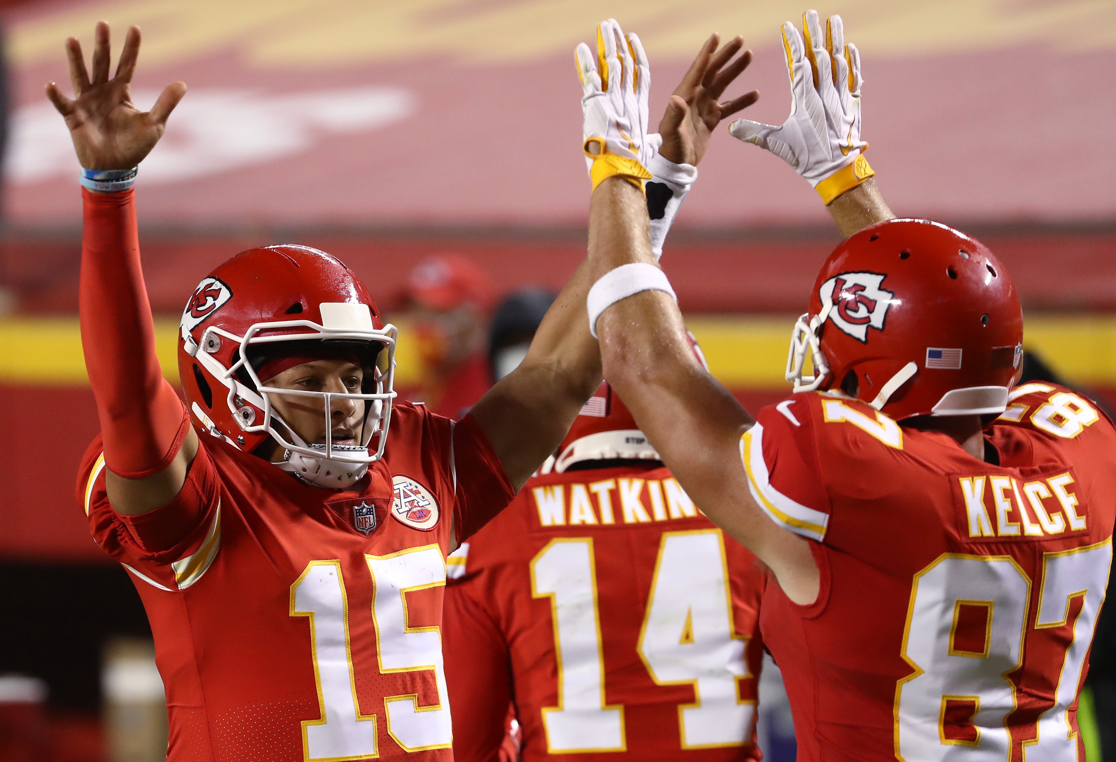 Patrick Mahomes #15 celebrates a touchdown with teammate Travis Kelce #87 of the Kansas City Chiefs during the second quarter against the Houston Texans at Arrowhead Stadium on September 10, 2020 in Kansas City, Missouri.