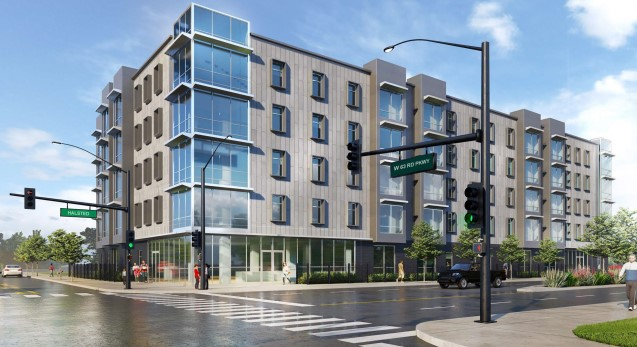 A rendering of the proposed 56-unit building at Halsted Street and 63rd Parkway.