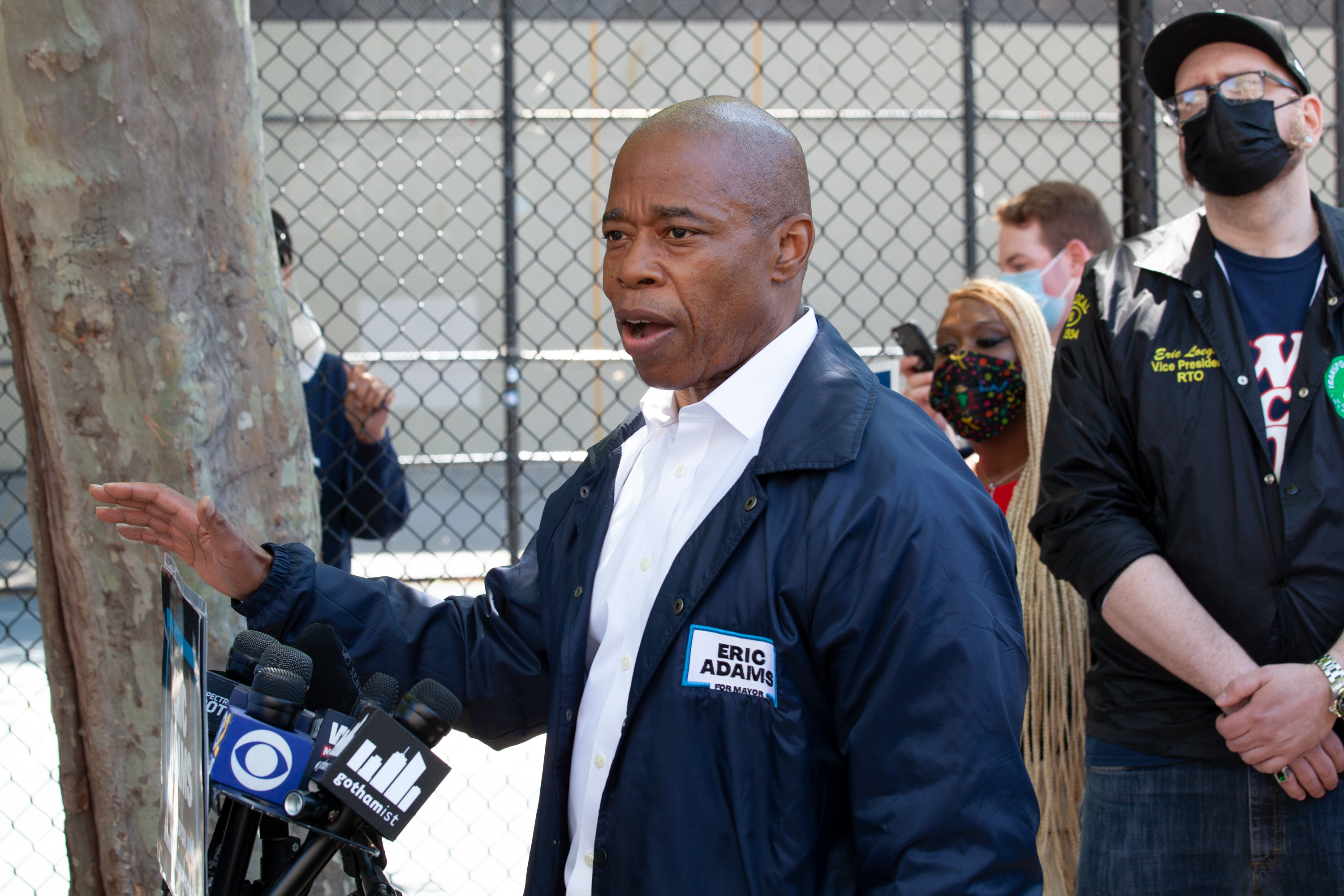 Mayoral candidate Eric Adams speaks outside the West 4th Street station in Manhattan about subway safety, May 18, 2021.