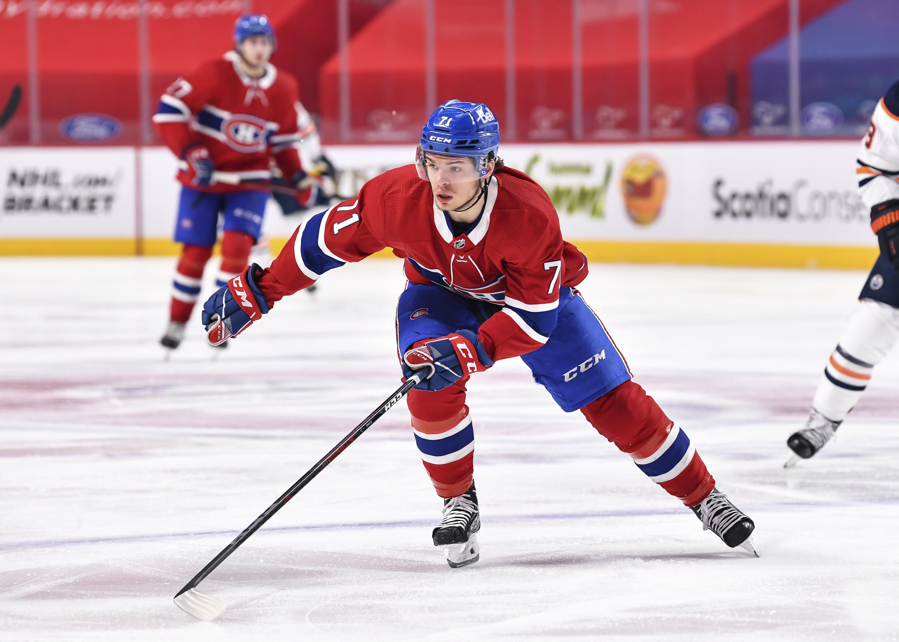 Jake Evans #71 of the Montreal Canadiens skates against the Edmonton Oilers during the second period at the Bell Centre on May 12, 2021 in Montreal, Canada. The Edmonton Oilers defeated the Montreal Canadiens 4-3 in overtime.