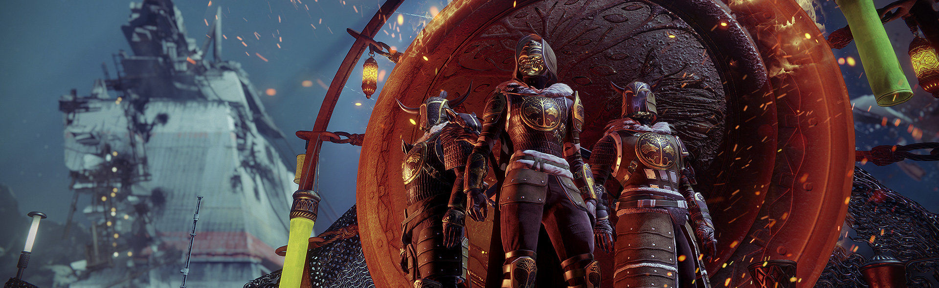 Destiny 2 - Iron Banner Guardians standing in front of Iron Medallion