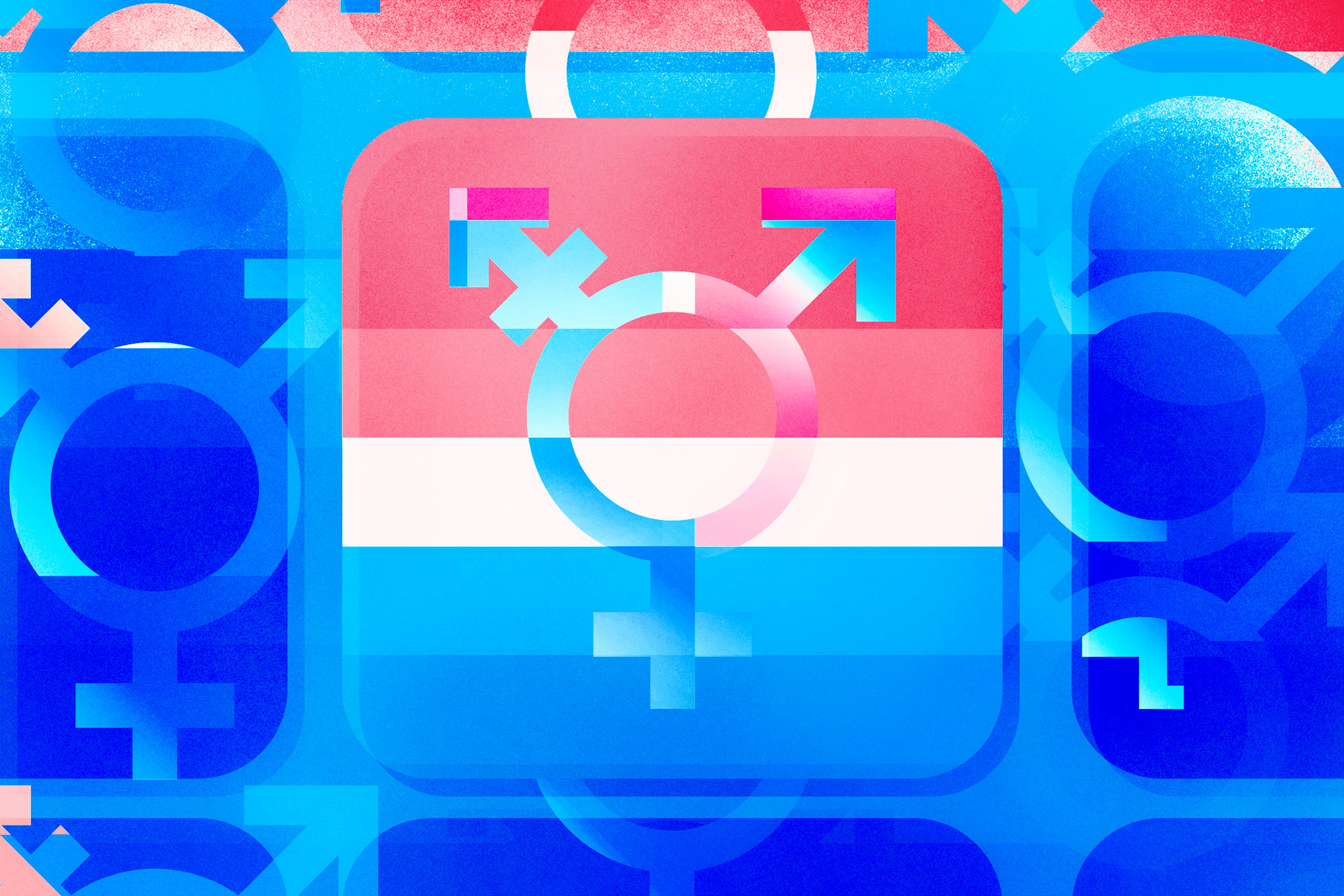 The transgender symbol in a square that looks like an app icon, overlapping with stripes of pink, white, and blue. Glitchy iterations of the symbol appear in the blue background.