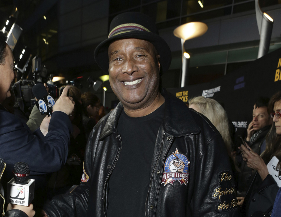 """Paul Mooney poses for photographers at the premiere of """"Meet the Blacks"""" in Los Angeles in 2016."""