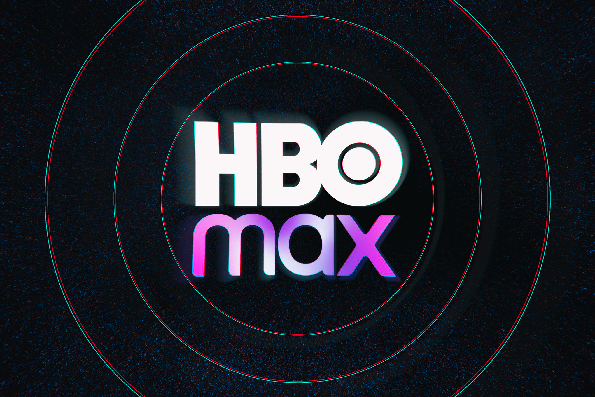 The HBO Max logo against a dark background with white circles around it.