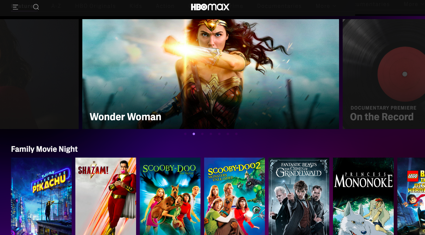 hbo max home screen