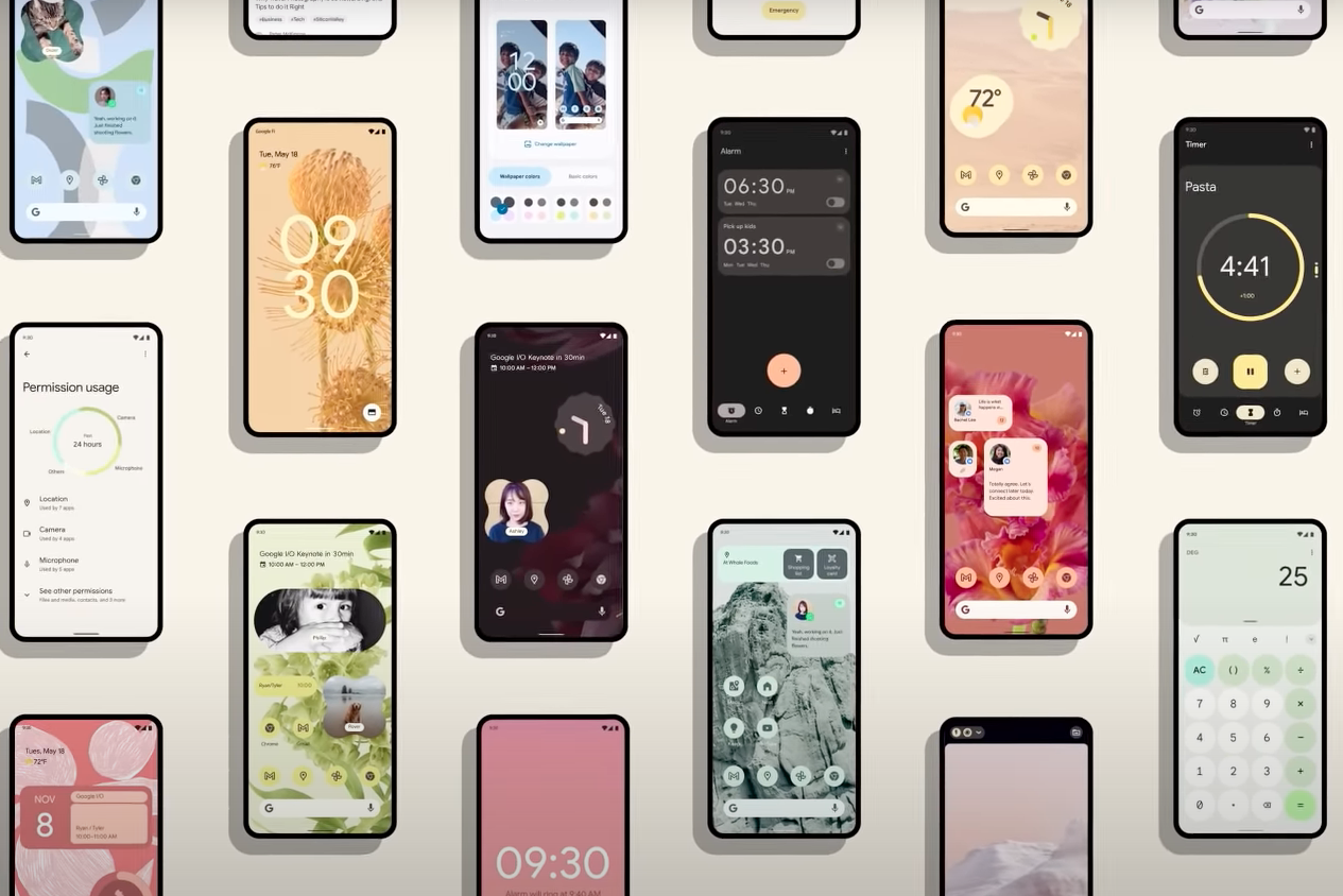 Multiple Android phones showing various apps and features.