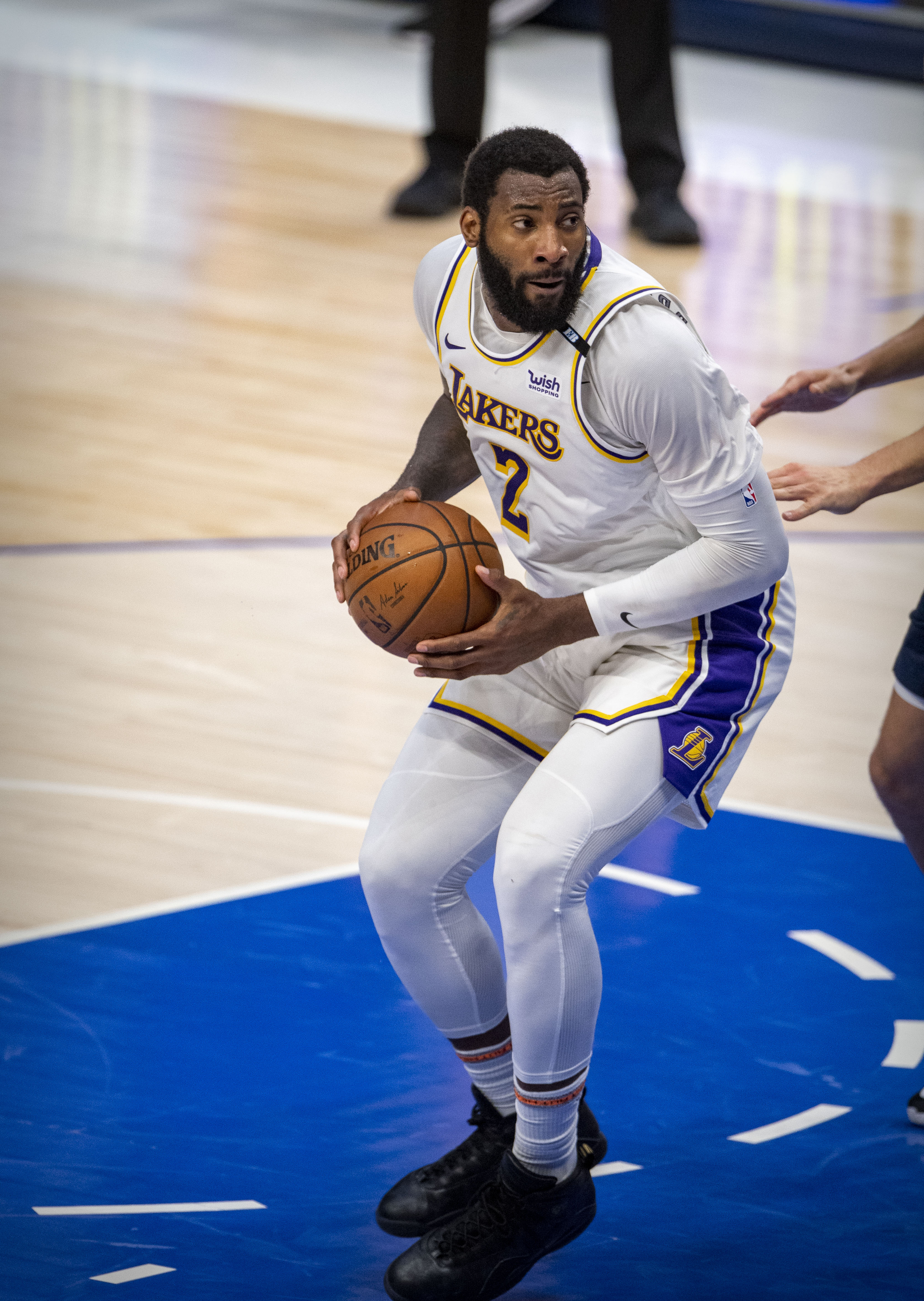Los Angeles Lakers center Andre Drummond in action during the game between the Los Angeles Lakers and the Dallas Mavericks at the American Airlines Center.