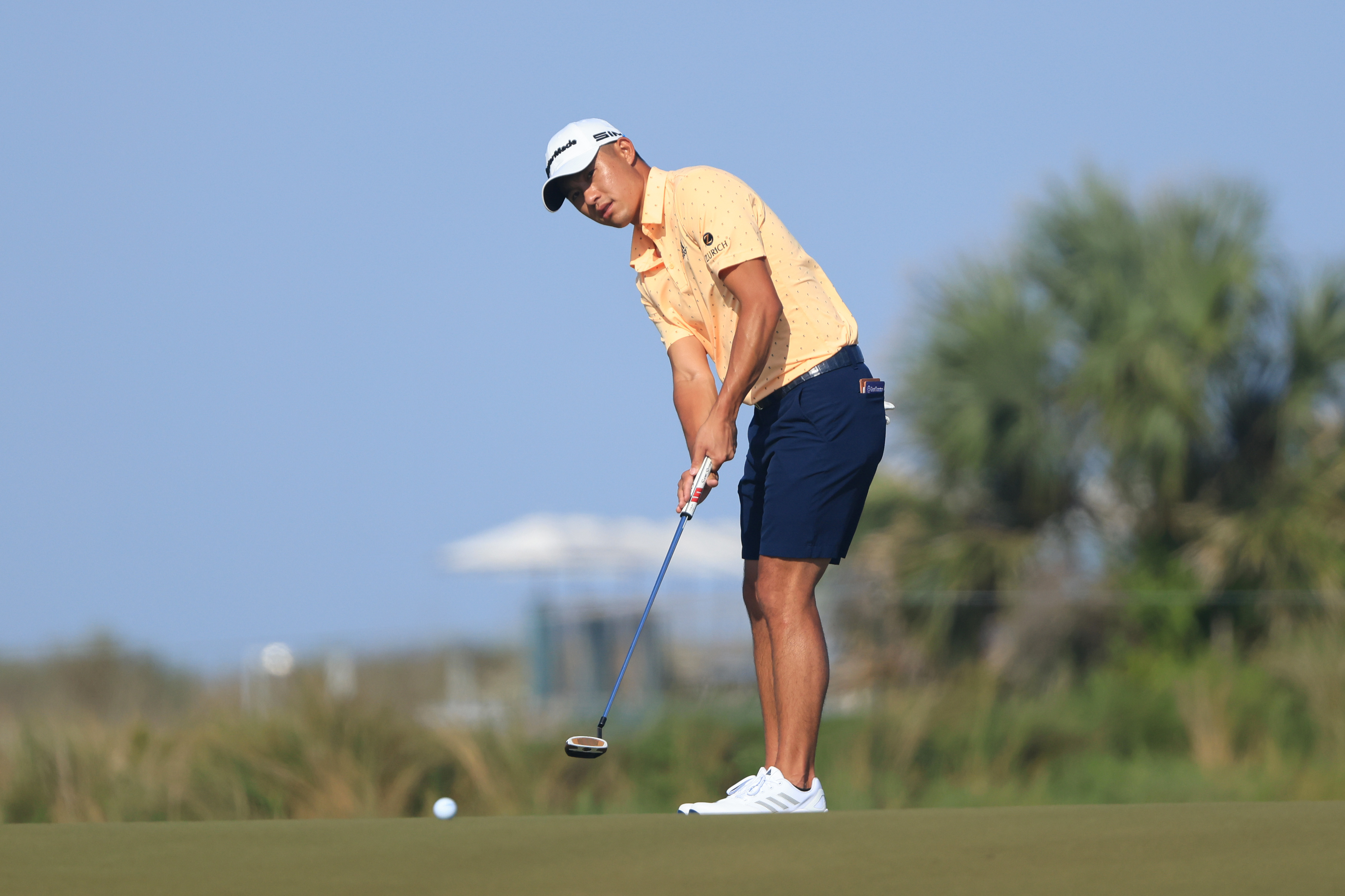 Collin Morikawa of the United States putts during a practice round prior to the 2021 PGA Championship at Kiawah Island Resort's Ocean Course on May 18, 2021 in Kiawah Island,