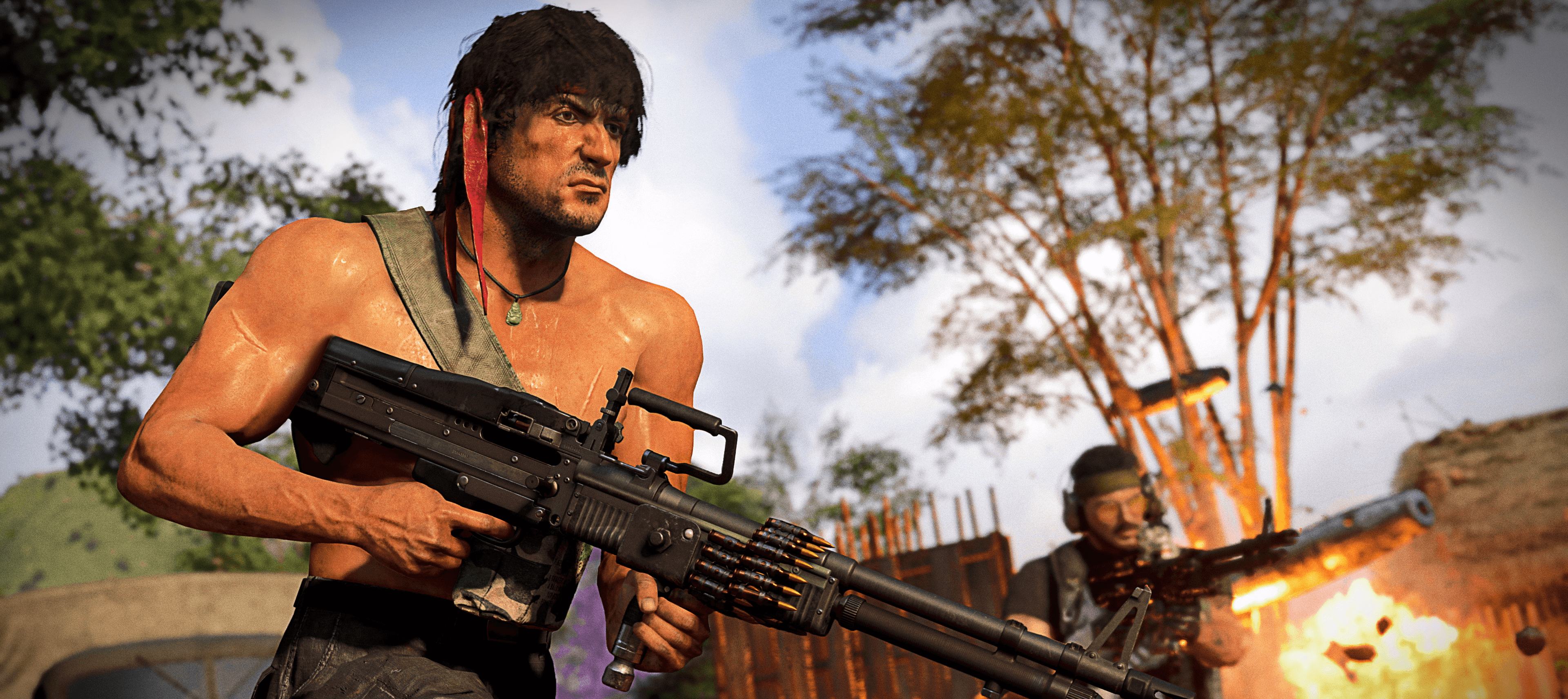 Rambo running forward with an LMG in Call of Duty: Warzone