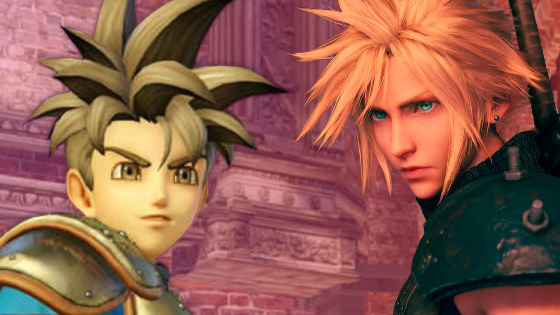 Final Fantasy's Cloud Strife and Dragon Quests's Hero stand face to face