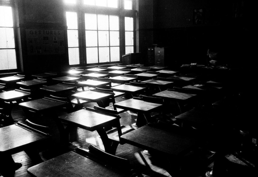 Empty DuSable High School classroom during Freedom Day protests in Chicago