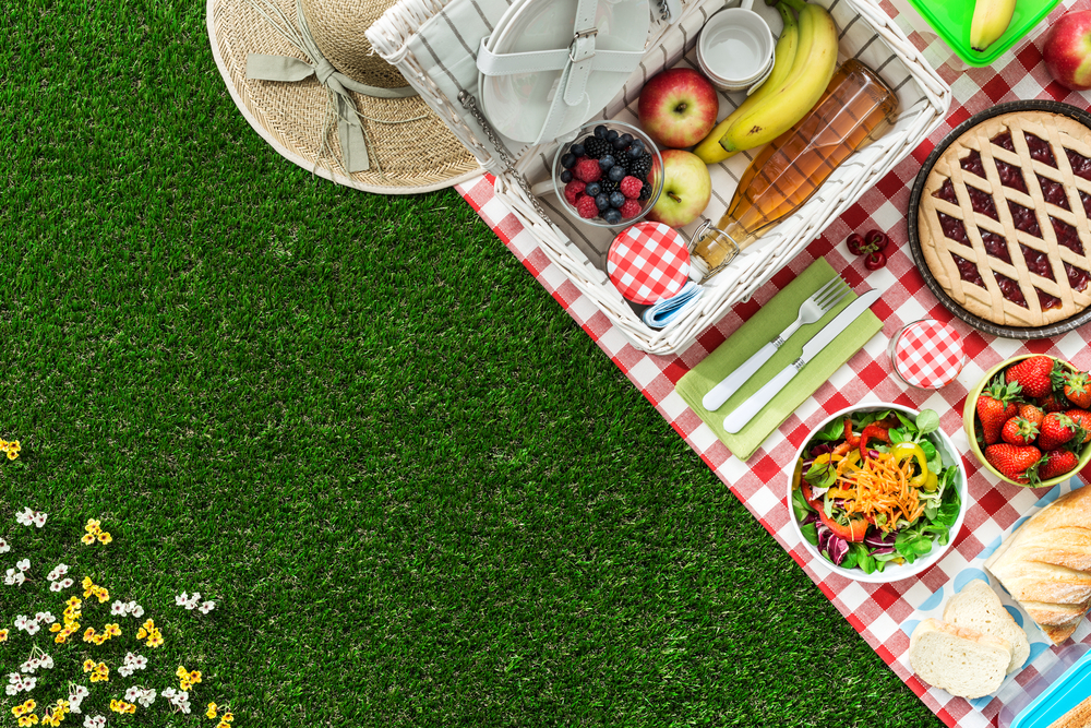 A checkered blanket on the grass with fruit, jam, a salad, and pie. A sun hat is off to the side.