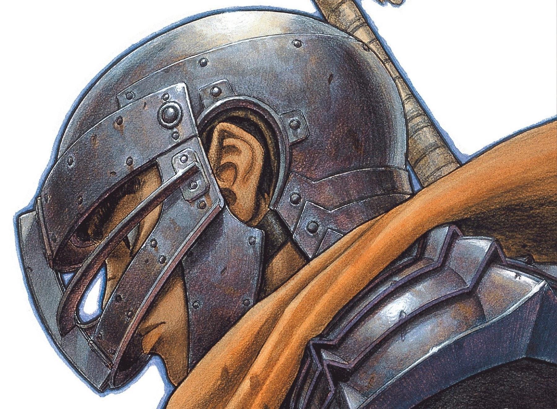 Guts wearing a helmet from the cover of Berserk, Vol. 6 (2005)
