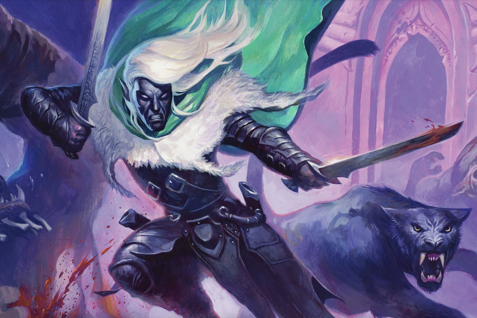 Drizzt and his panther leap into battle, blades and teeth flashing.