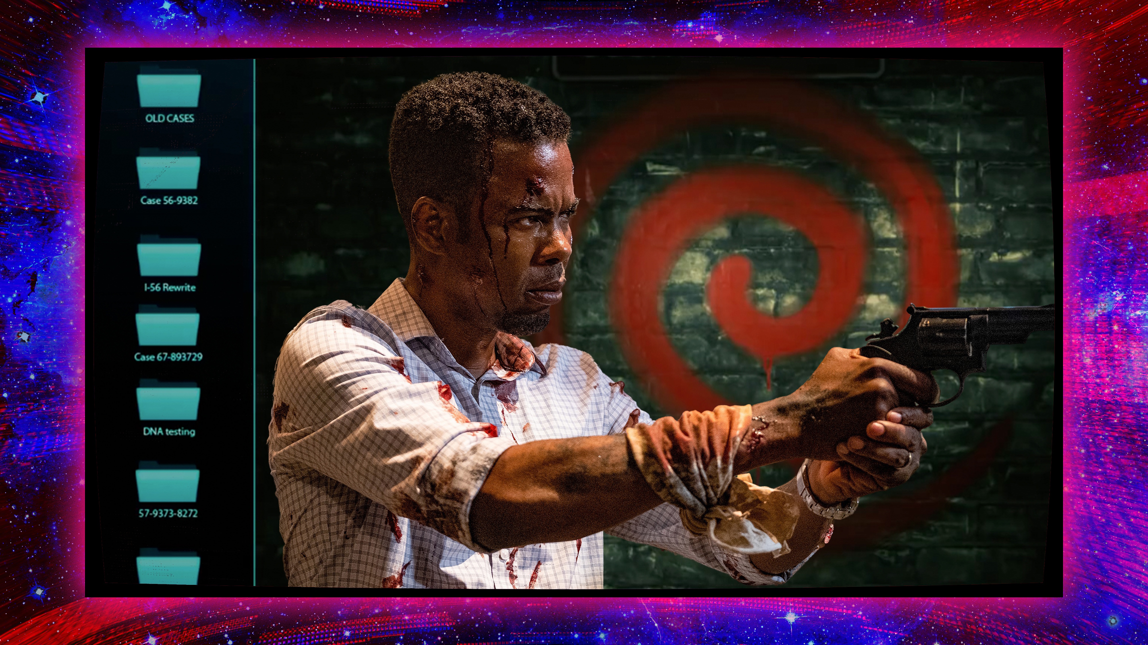 """Actor Chris Rock from the movie """"Spiral"""" on a graphic background"""