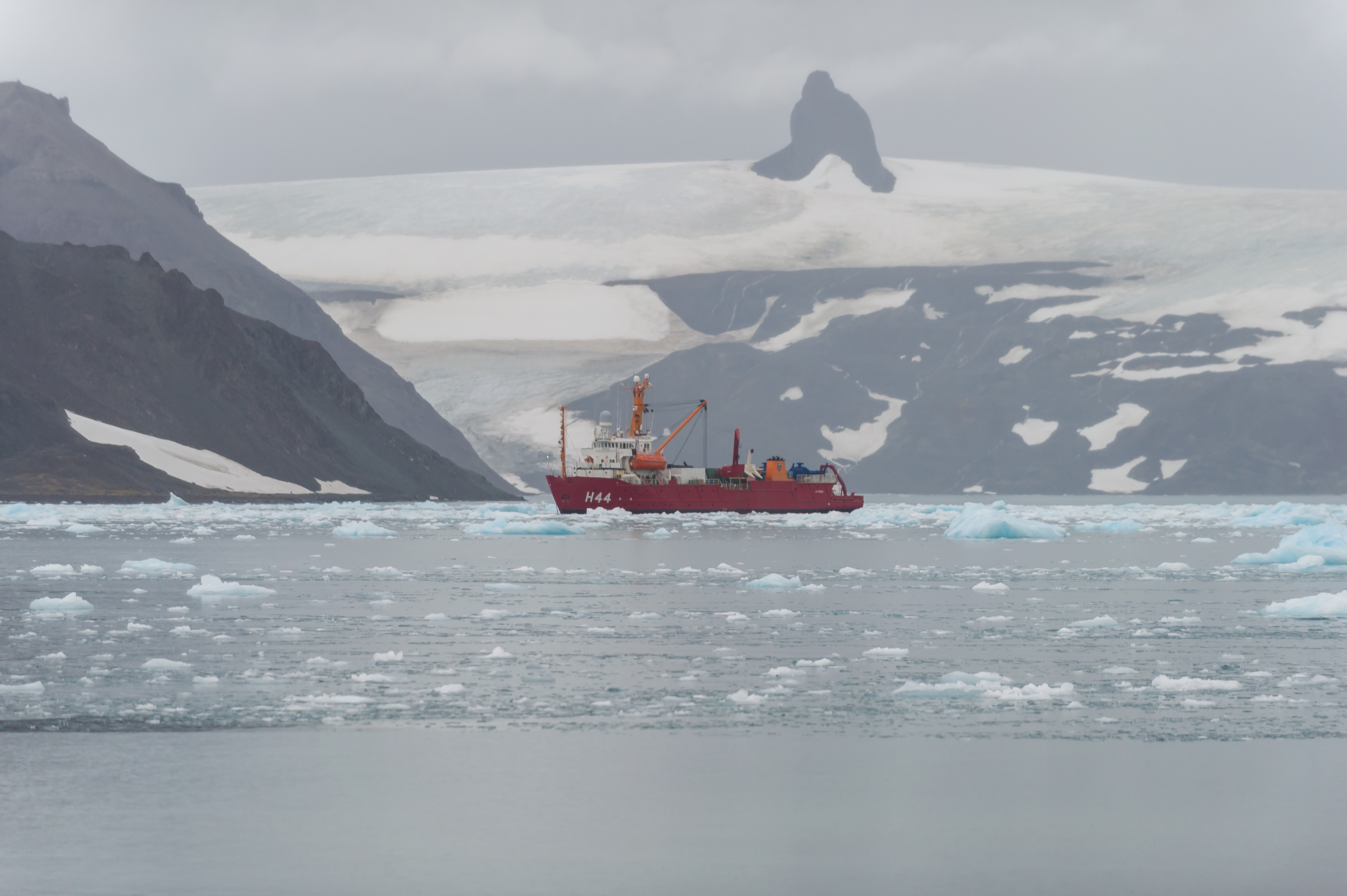 Polar ship Ary Rongel in Admiralty Bay with the Nunatak Needle in the background, on January 7, 2020, in King George Island, Antarctica.