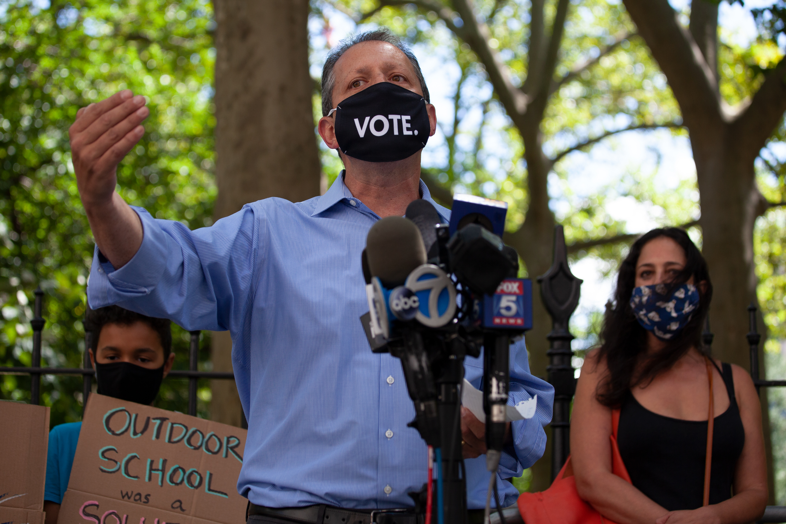 Councilmember Brad Lander (D-Brooklyn) speaks outside City Hall about the city helping schools that want to hold outdoor classes in the fall, Aug. 20, 2020.