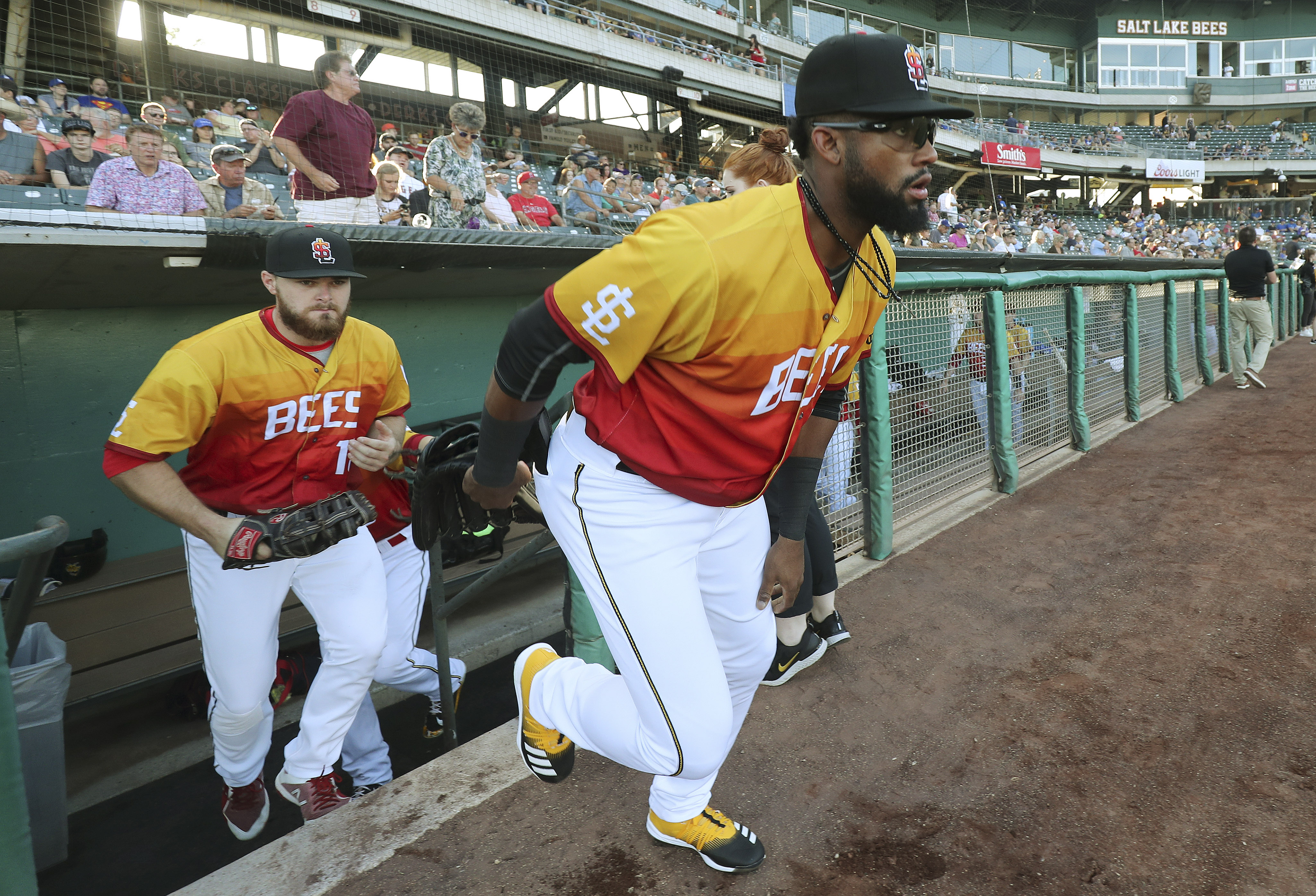 FILE — Jo Adell, the Angels' top prospect, takes the field while making his Triple-A debut with the Salt Lake Bees in Salt Lake City on Thursday, Aug. 1, 2019.