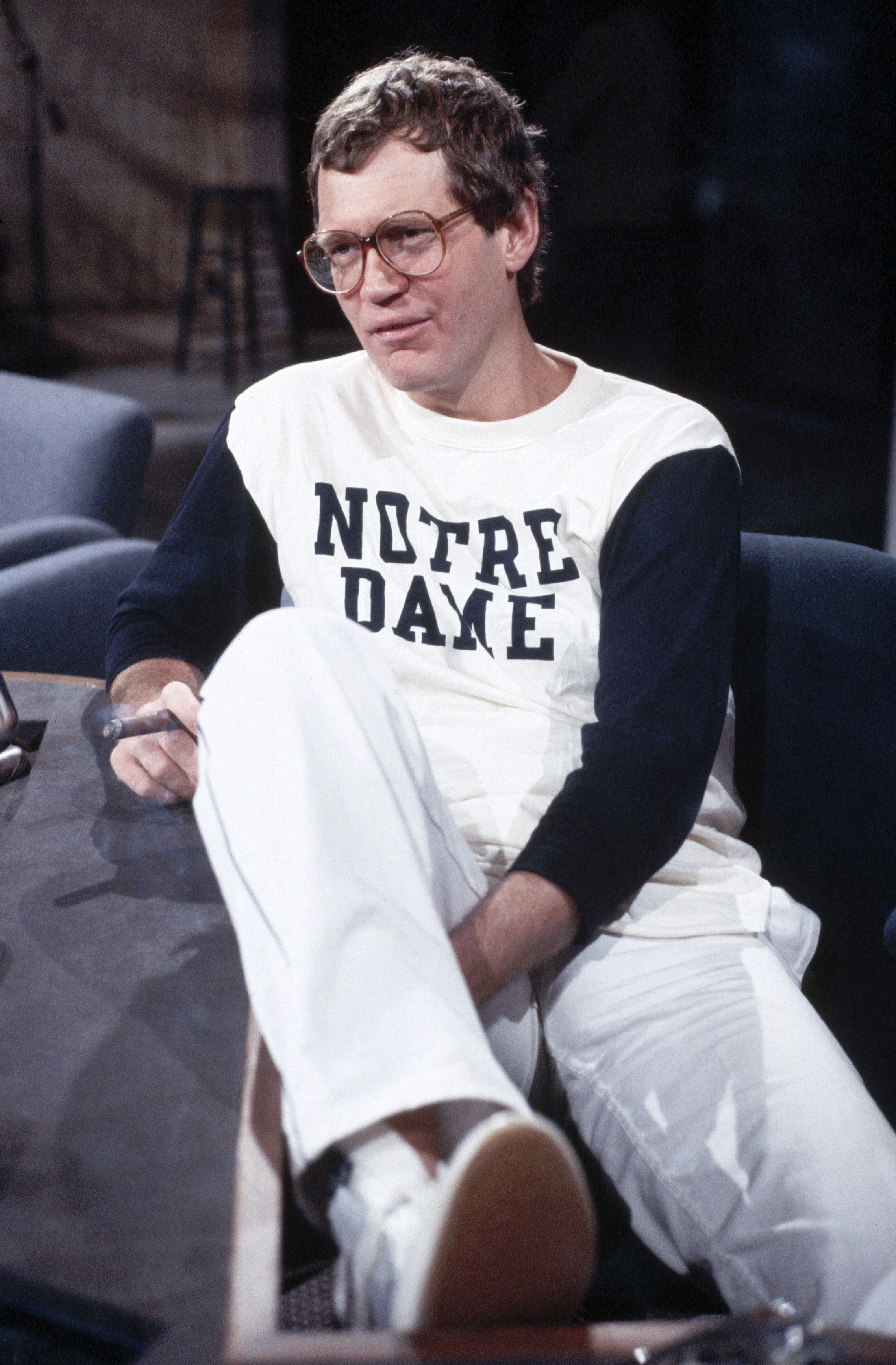 Dave Letterman in Notre Dame Shirt