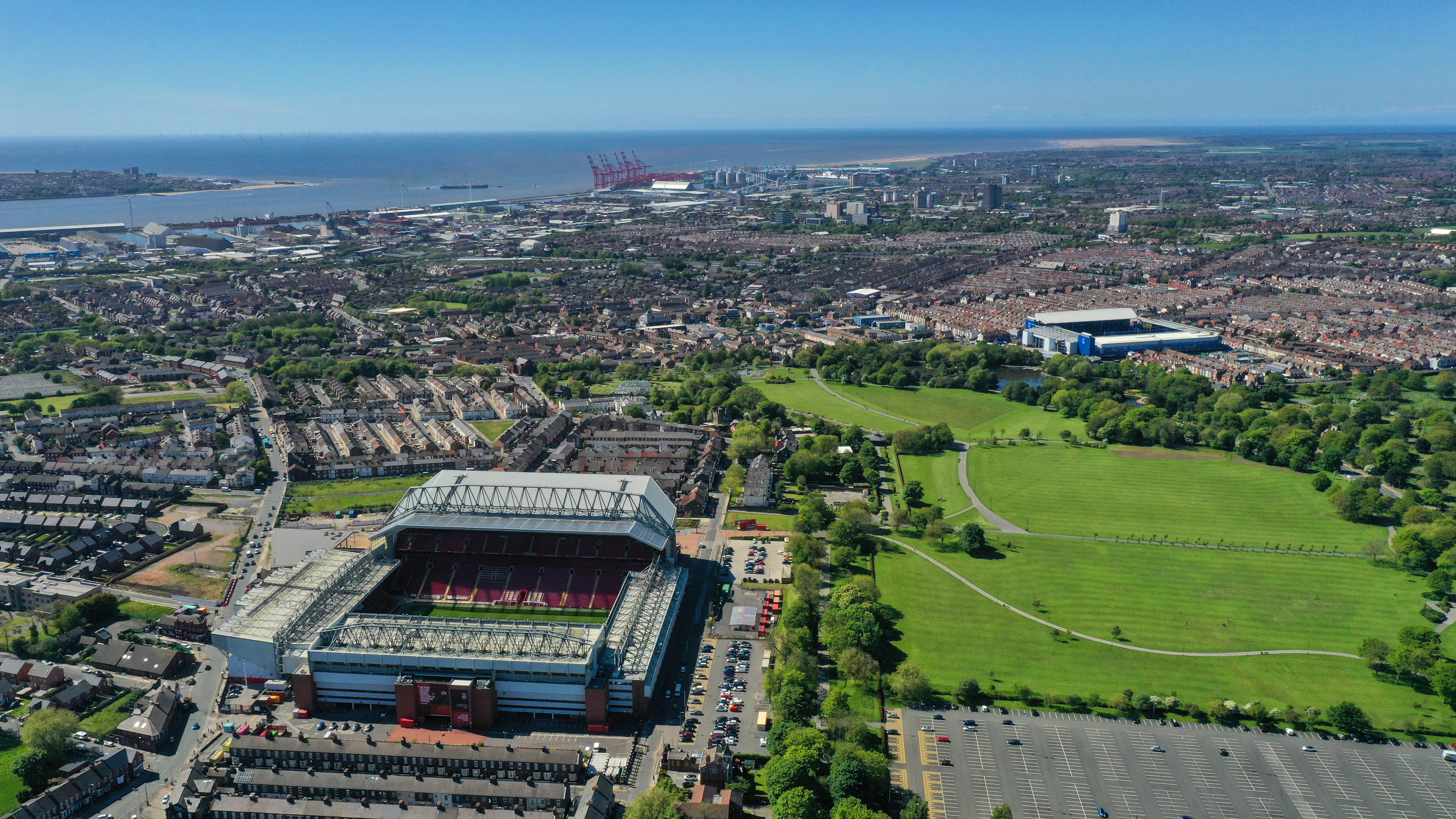 A general external aerial view of Anfield, home stadium of Liverpool showing the close proximity of Goodison Park