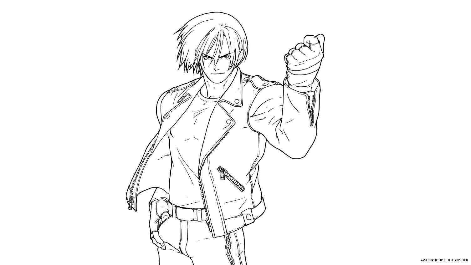 A black and white sketch shows Kyo Kusanagi standing with his left arm in the air