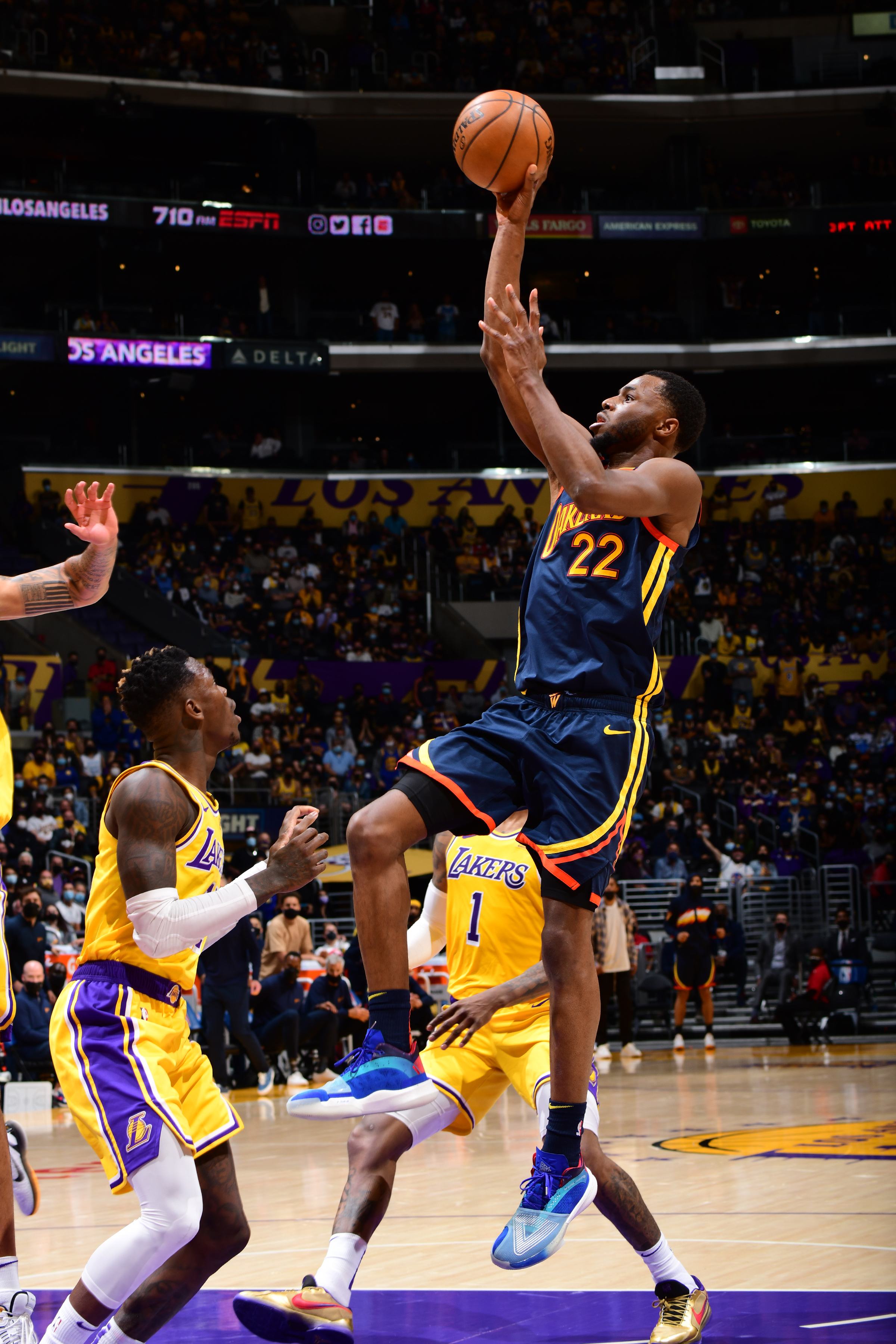 Andrew Wiggins #22 of the Golden State Warriors shoots the ball against the Los Angeles Lakers during the 2021 NBA Play-In Tournament on May 19, 2021 at STAPLES Center in Los Angeles, California.
