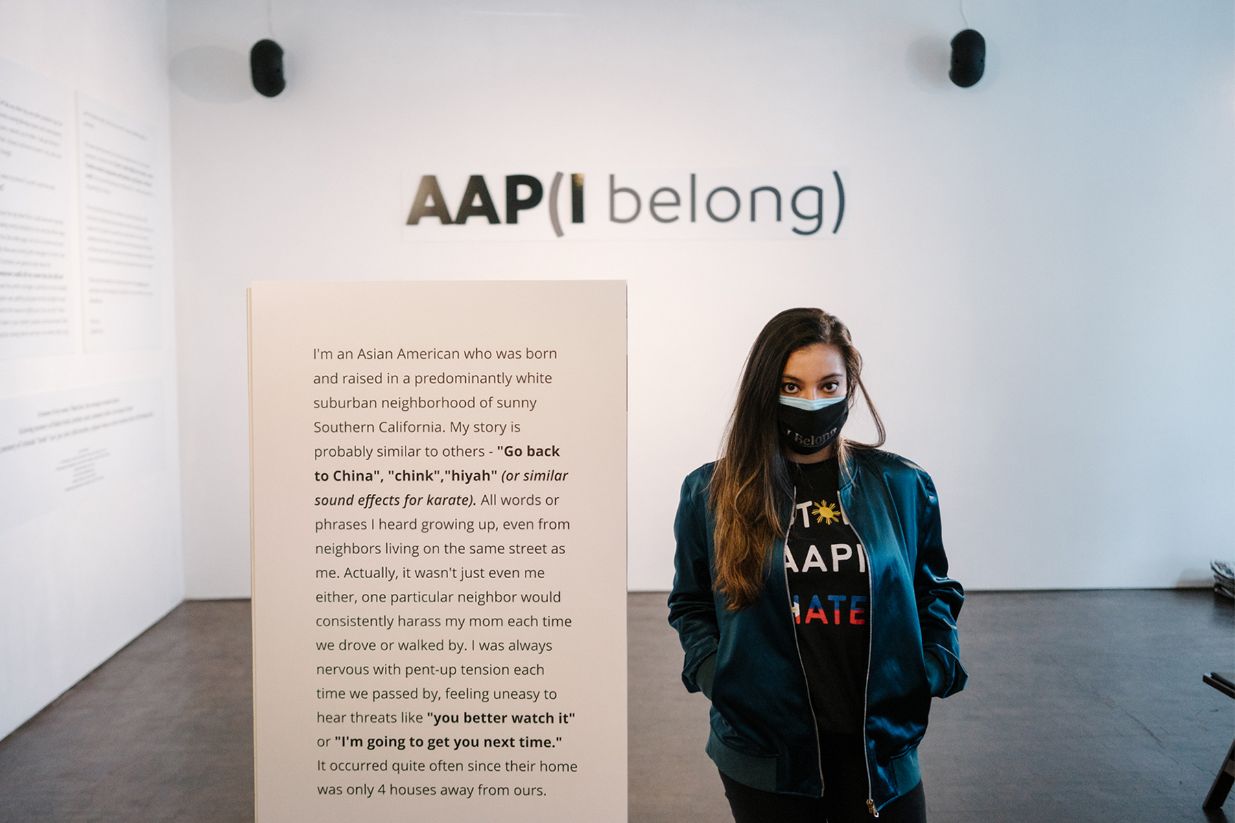 Elizabeth Kari at the AAP(I Belong) exhibition at the Museum of Chinese in America in New York City.