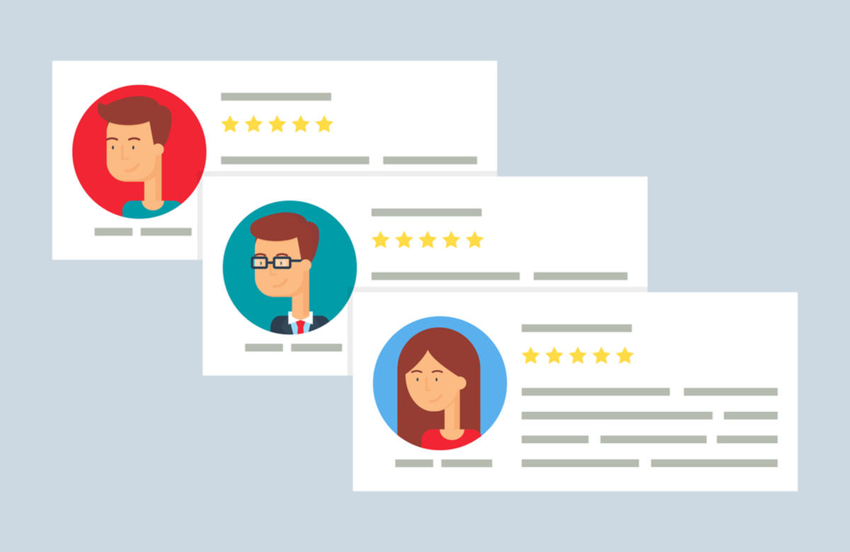An illustration showing examples of online product reviews.