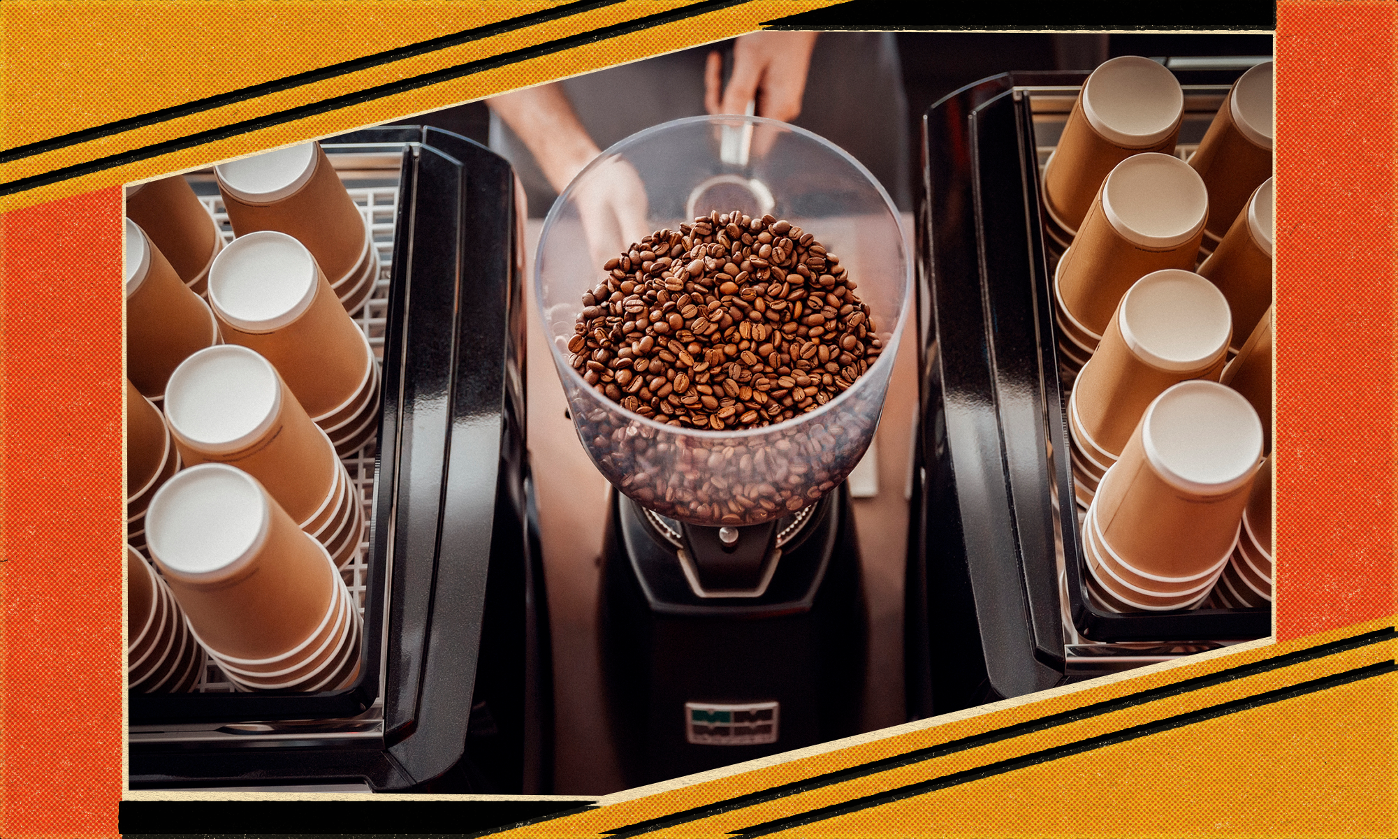 Coffee beans sit in a coffee grinder next to paper cups.