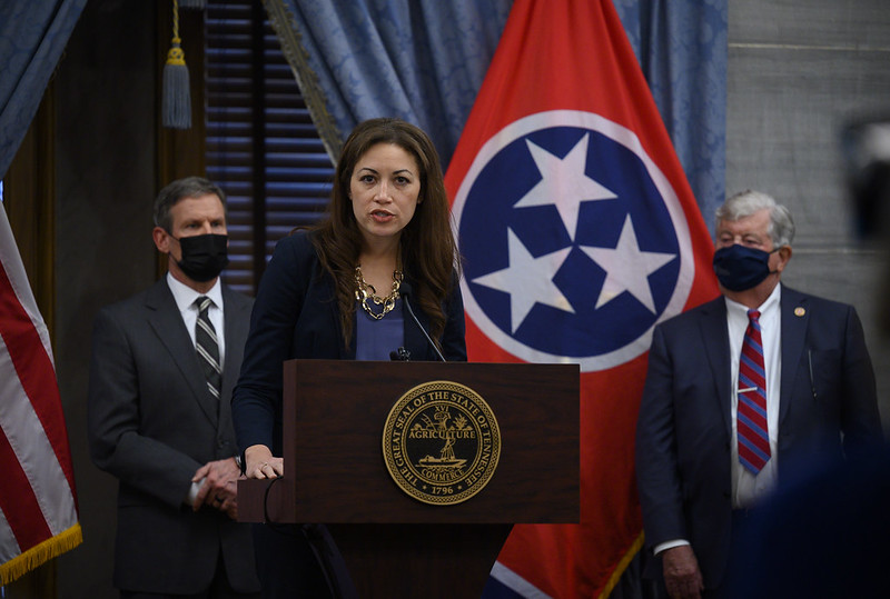 Education Commissioner Penny Schwinn discusses measures passed during Tennessee's special legislative session on education to address learning disruptions caused by the pandemic. The press conference, featuring Gov. Bill Lee and Lt. Gov. Randy McNally, was held after the session ended on Jan. 22. 2021.