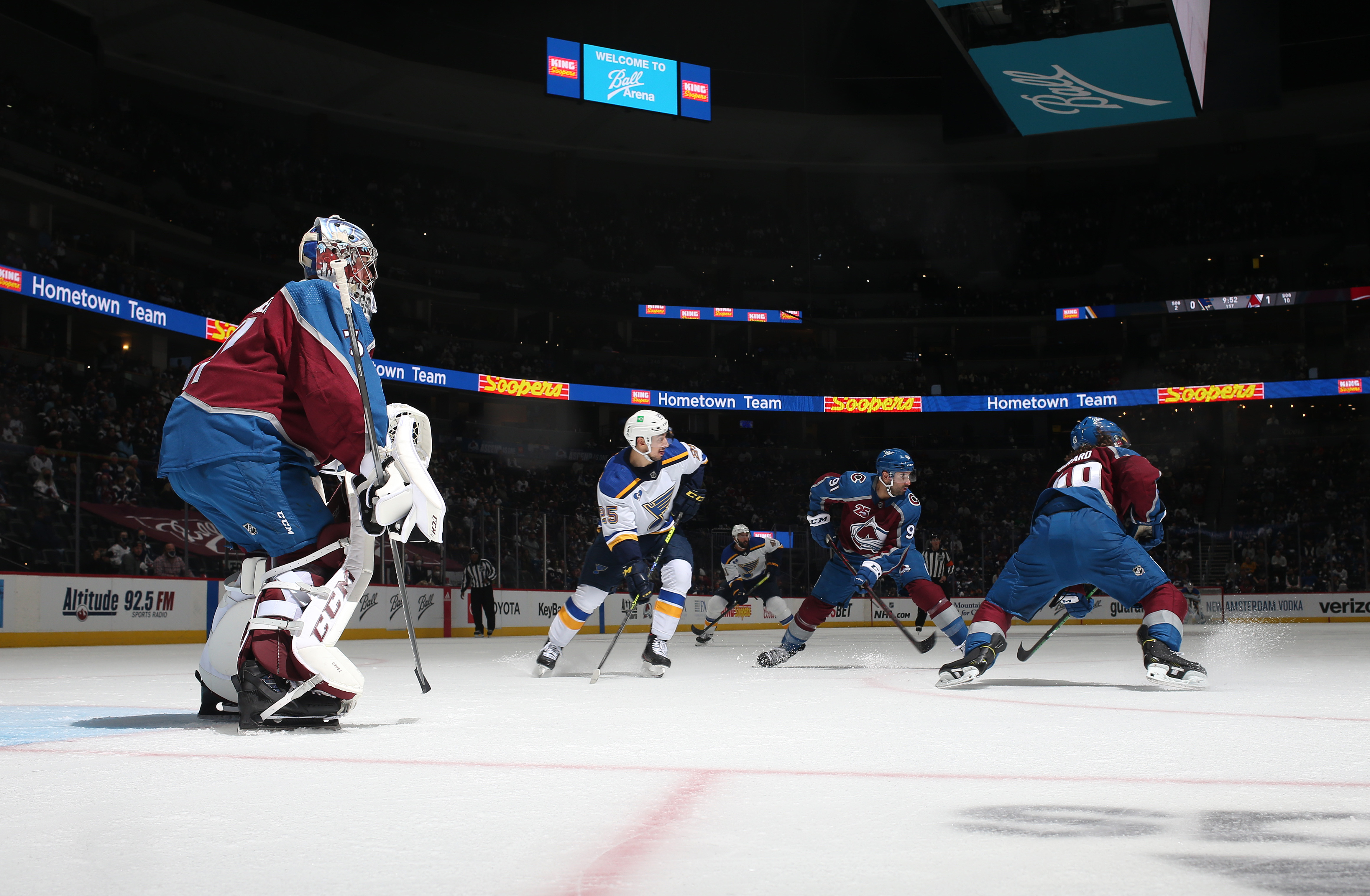 Goaltender Philipp Grubauer #31 of the Colorado Avalanche stands ready against the St Louis Blues in Game Two of the First Round of the 2021 Stanley Cup Playoffs at Ball Arena on May 19, 2021 in Denver, Colorado.