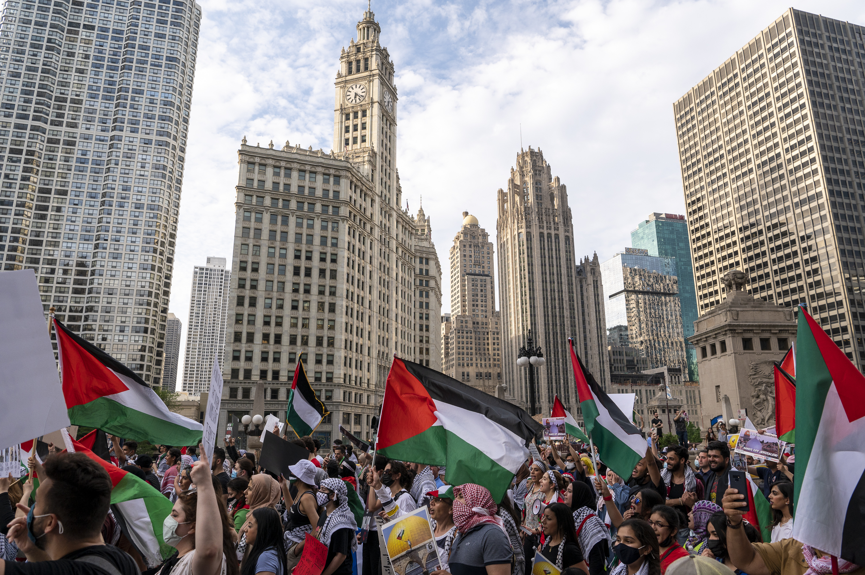Around a thousand people march on Wacker Dr. in the Loop, during a pro-Palestinian protest, Friday, May 21, 2021.