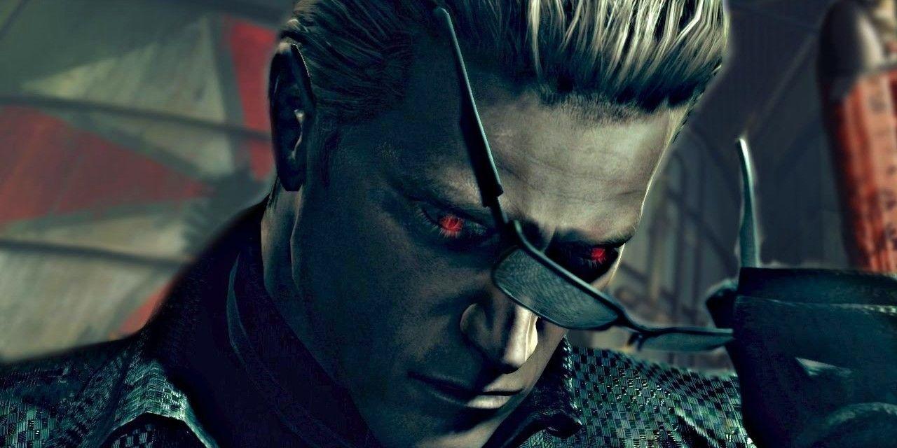 albert wesker takes off his sunglasses in resident evil 5